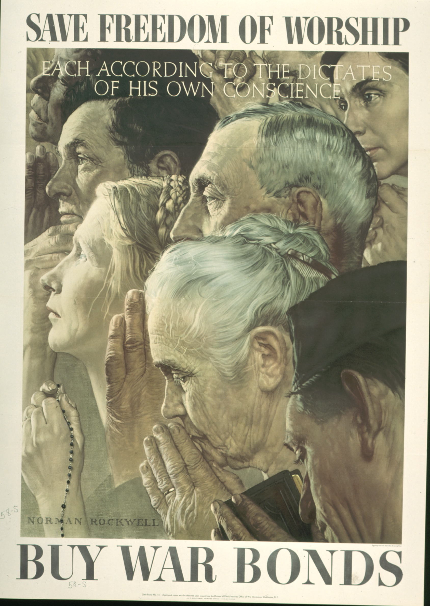 Caption: Norman Rockwell, Freedom of Worship, 1943, offset color lithograph on paper; Texas War Records Collection, 85.170.158                       Caption: Norman Rockwell, Freedom of Worship, 1943, offset color lithograph on paper; Texas War Records Collection, 85.170.158