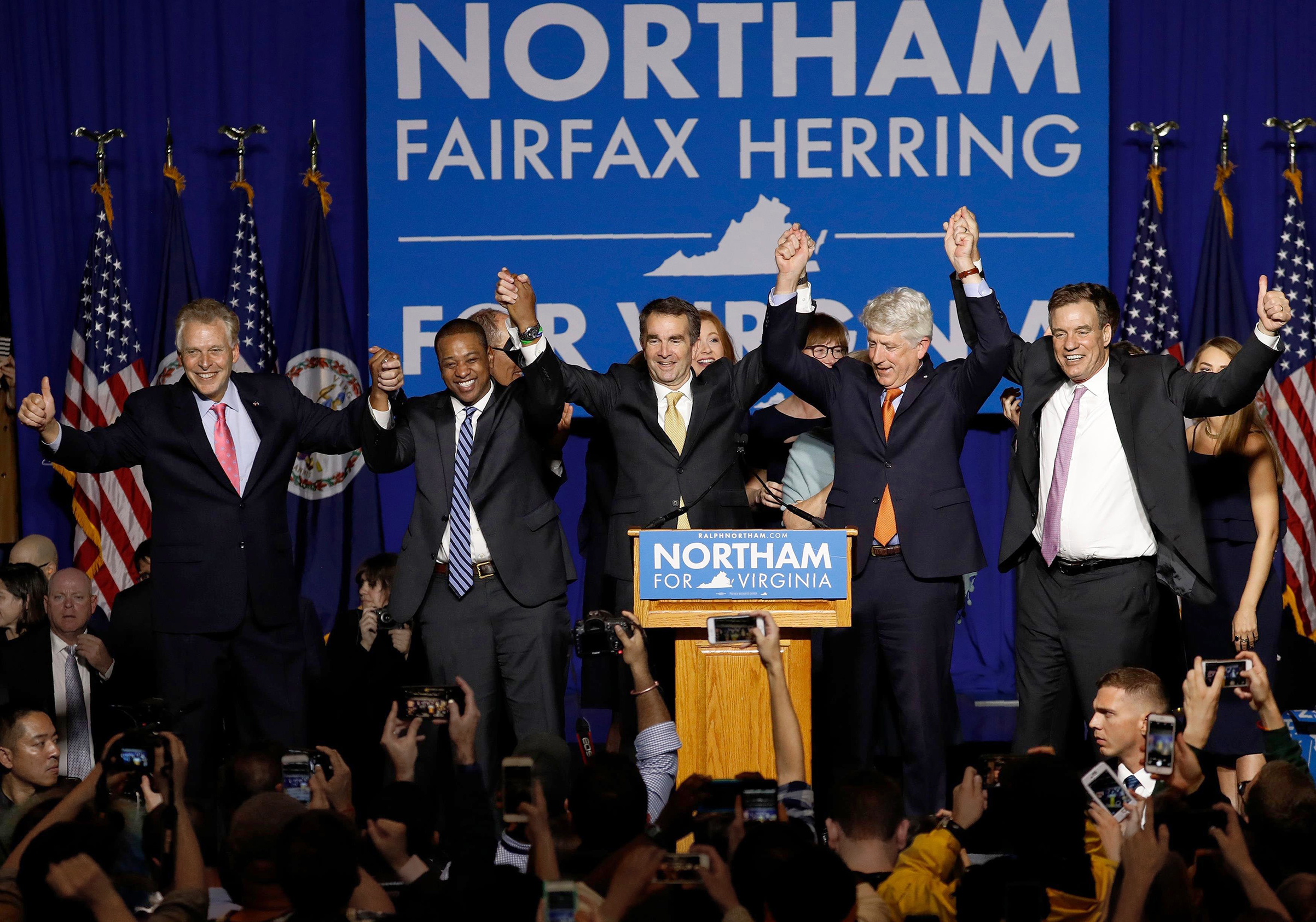 Virginian Ralph Northam celebrates his gubernatorial win with fellow Democrats on Nov. 7
