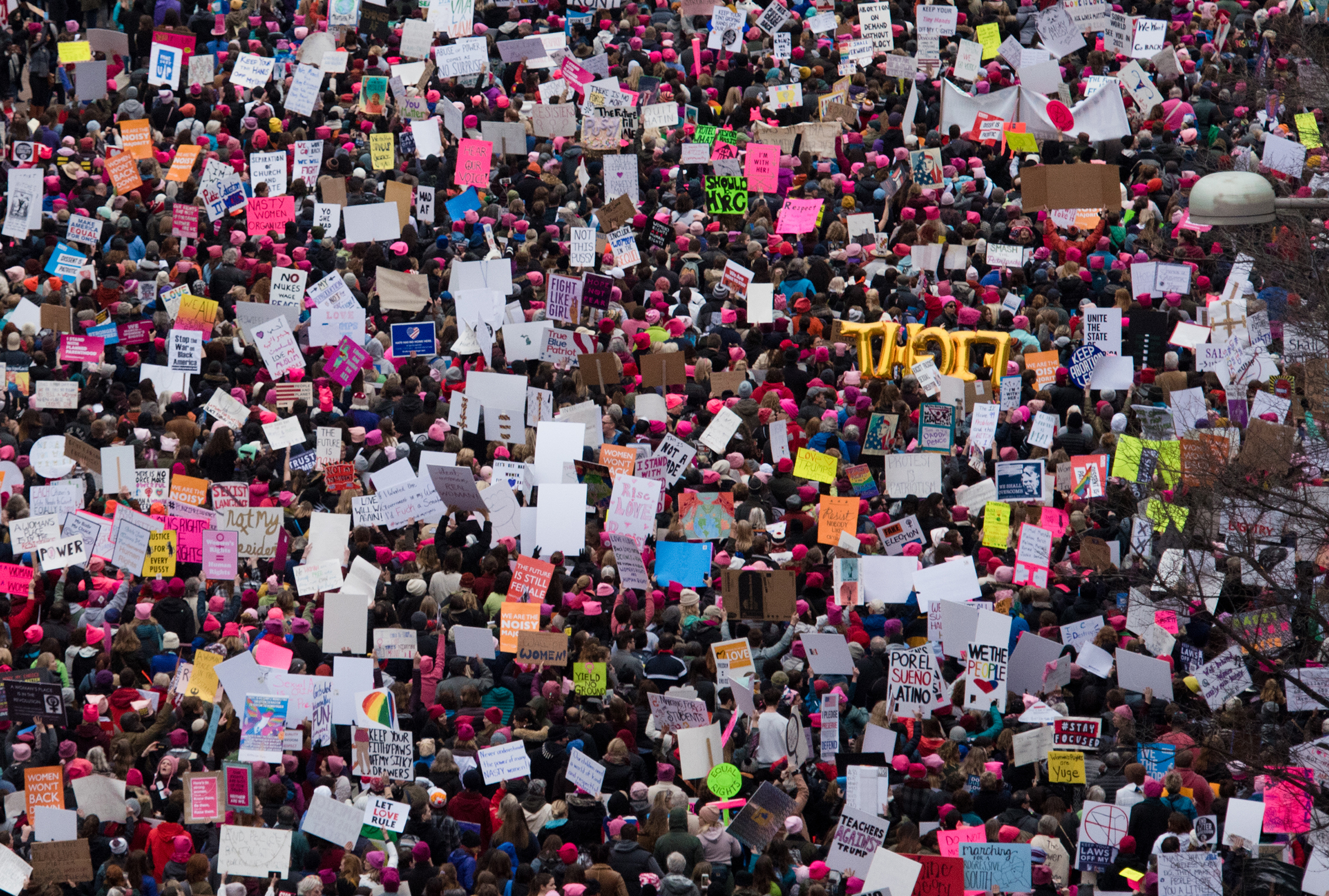 A view of demonstrators marching on Pennsylvania Avenue during the Women's March on Washington on January 21, 2017.