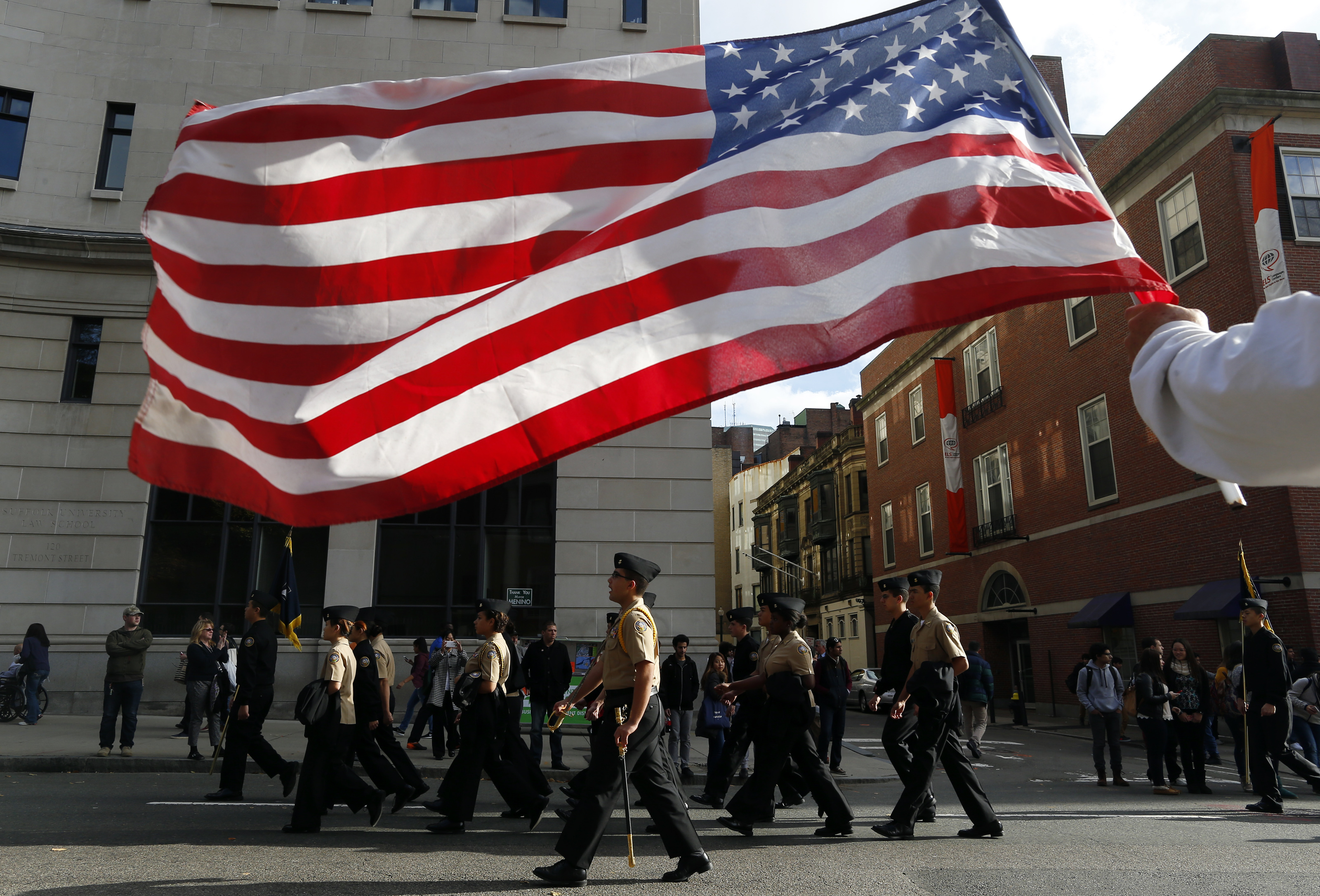 The Veterans Day Parade passes by in Boston on November 11, 2014.