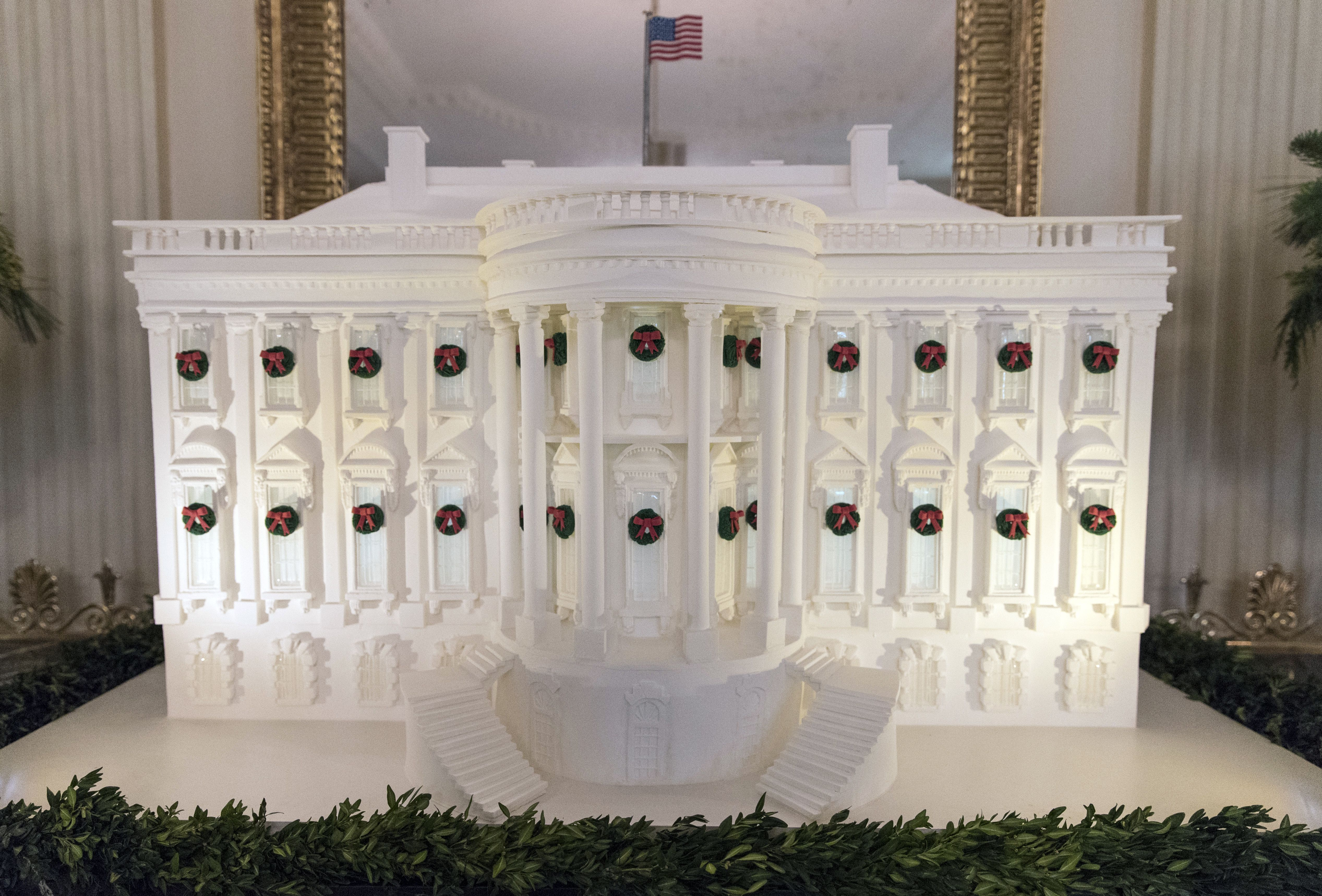 The gingerbread White House is seen in the East Dining Room during a media preview of the 2017 holiday decorations at the White House in Washington, D.C., Nov. 27, 2017.