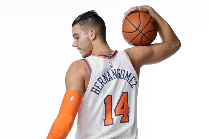 Willy Hernangómez #14 of the New York Knicks poses for a portrait during Media Day on Sept. 25, 2017 at the Knicks Practice Center in Tarrytown, New York.