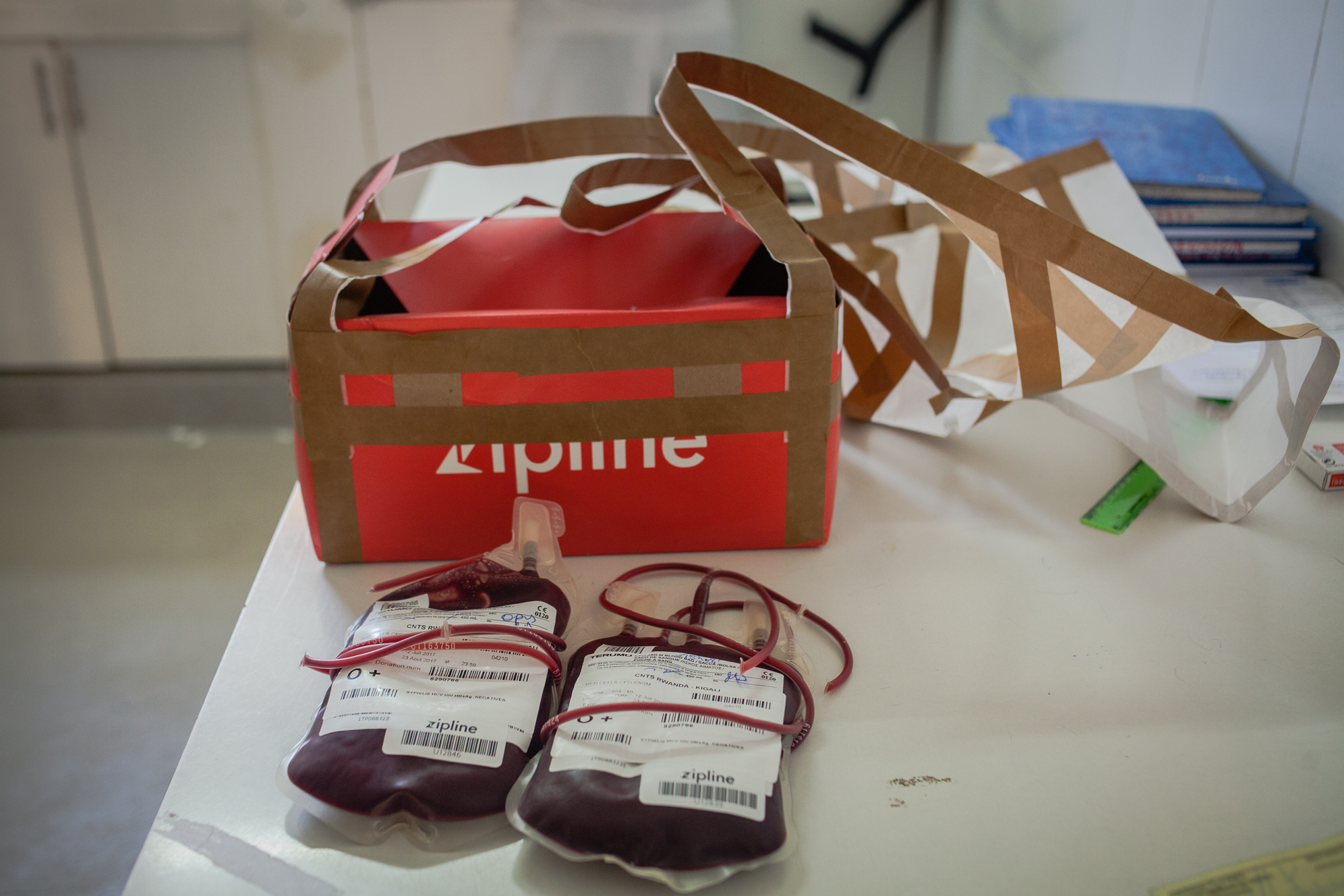 The delivered blood from Zipline in Kabgayi Hospital laboratory on July 21, 2017.