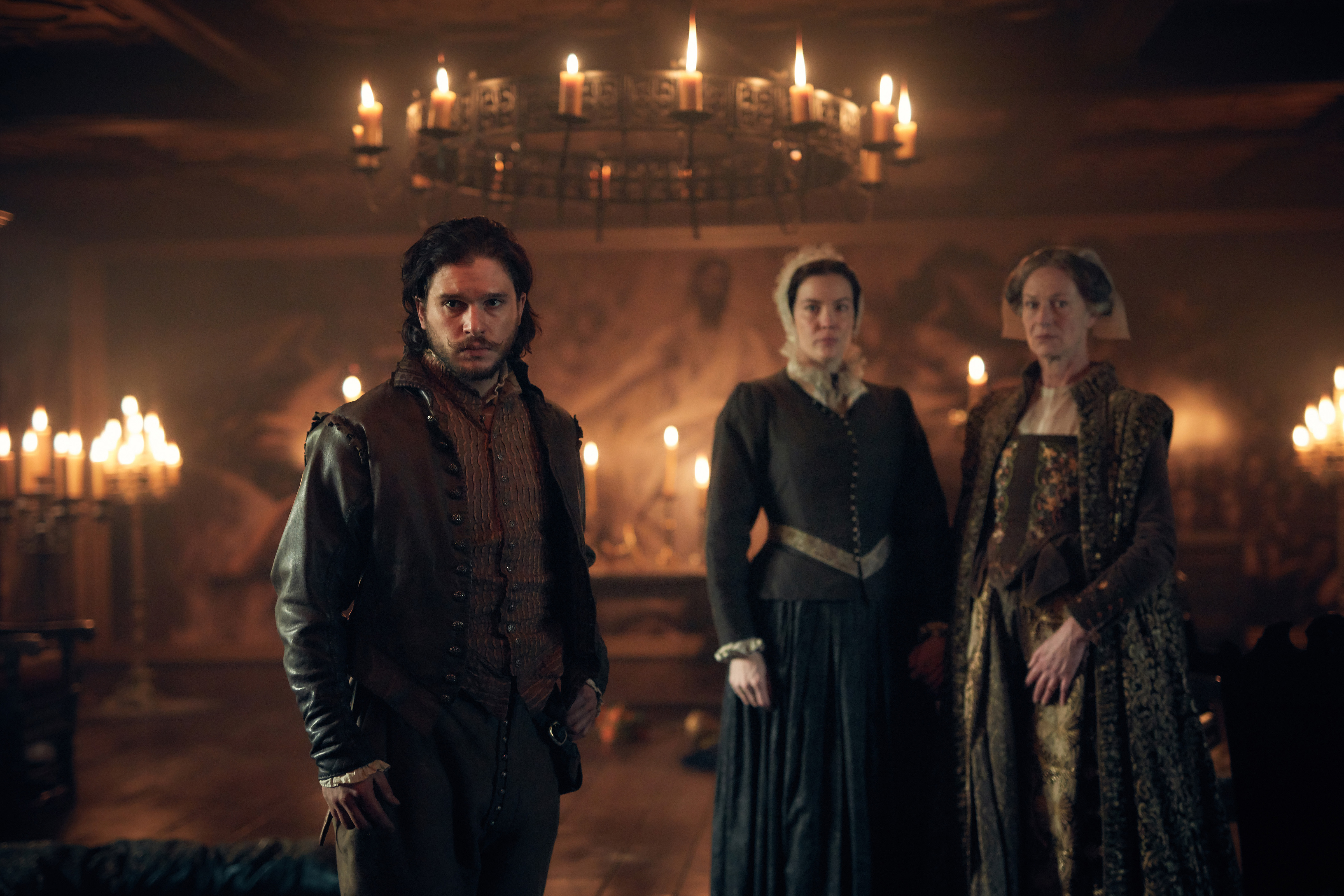 Kit Harington, Liv Tyler and Sian Webber in 'Gunpowder'