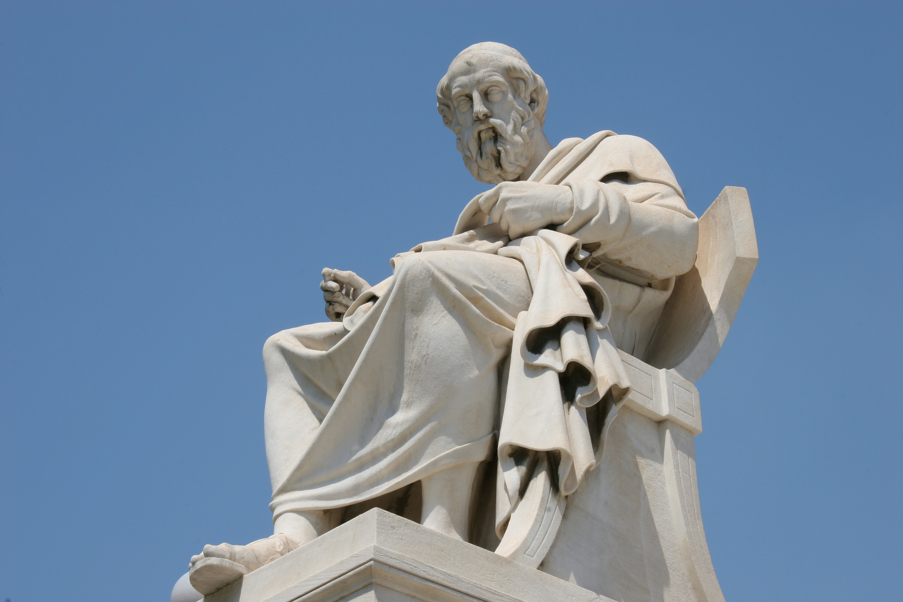 Aristotle (384-322 BC), Classical Greek Philosopher, A student of Plato and teacher of Alexander the Great, Statue of Aristotle at the Athens Academy, Athens, Central Greece, Attica, Europe.