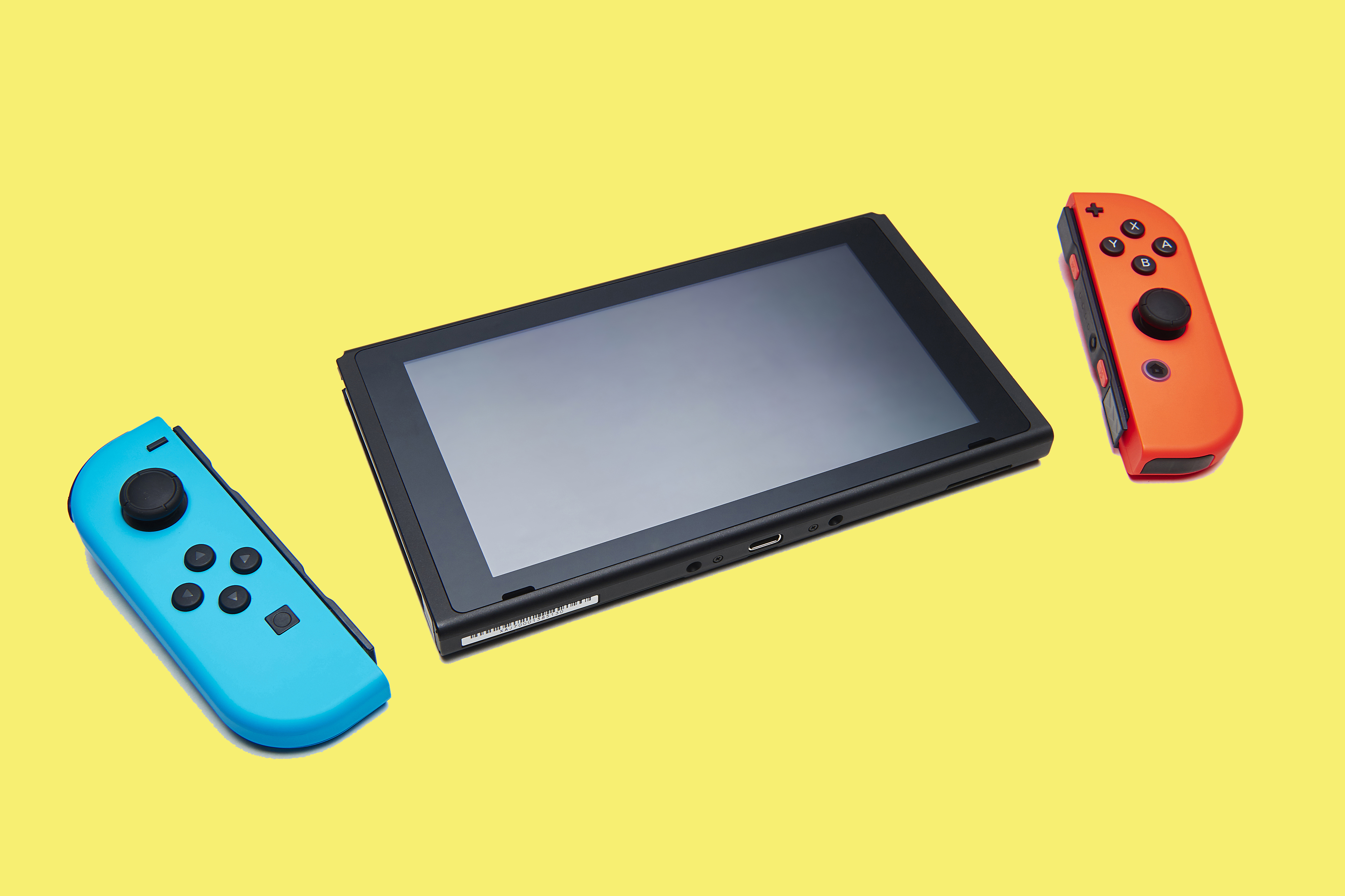 A Nintendo Switch console with a pair of Joy-Con controllers, taken on Feb. 22, 2017.