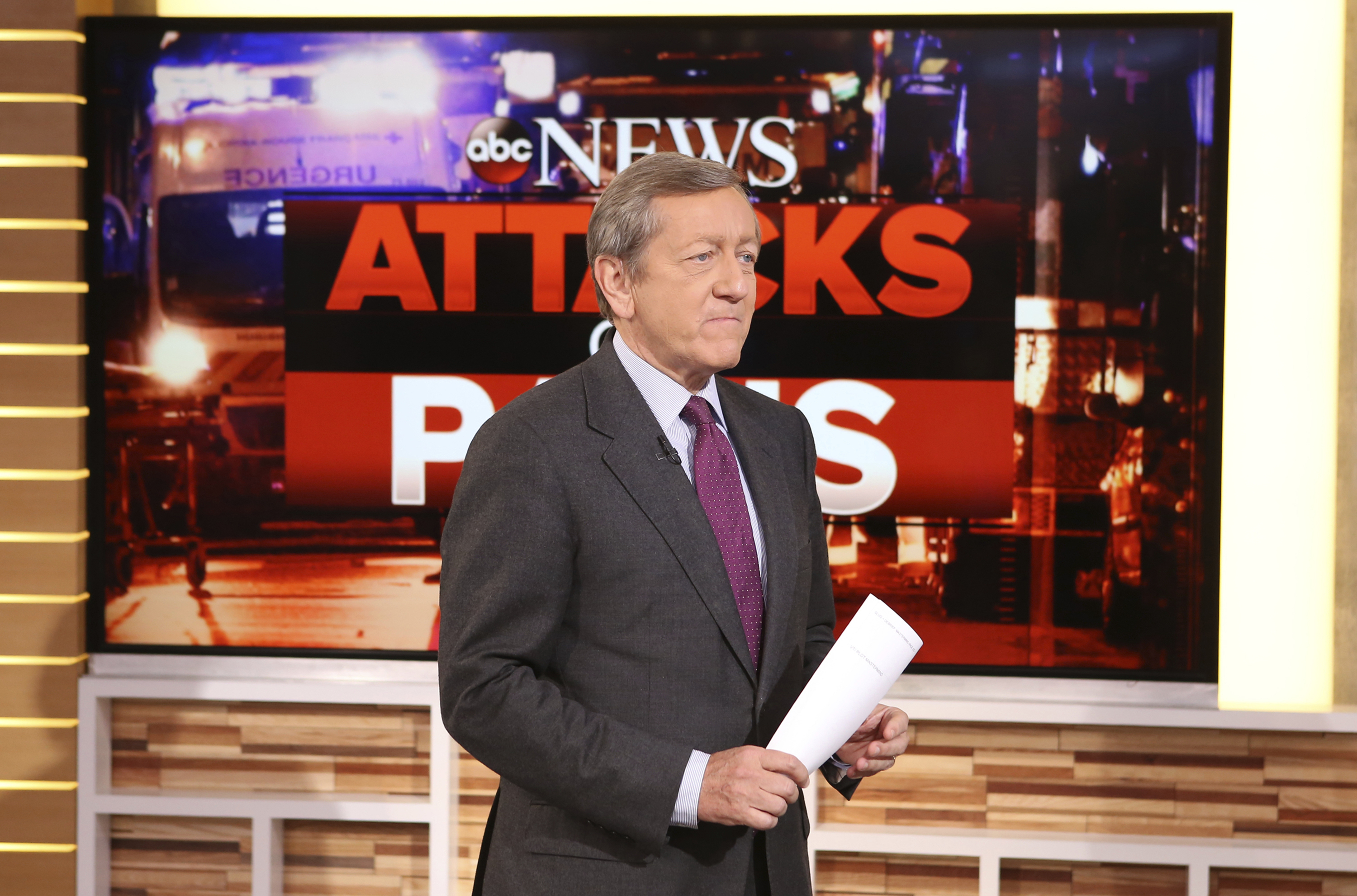 In this Nov. 16, 2015 photo provided by ABC, correspondent Brian Ross speaks on  Good Morning America,  which airs on the ABC Television Network, in New York.
