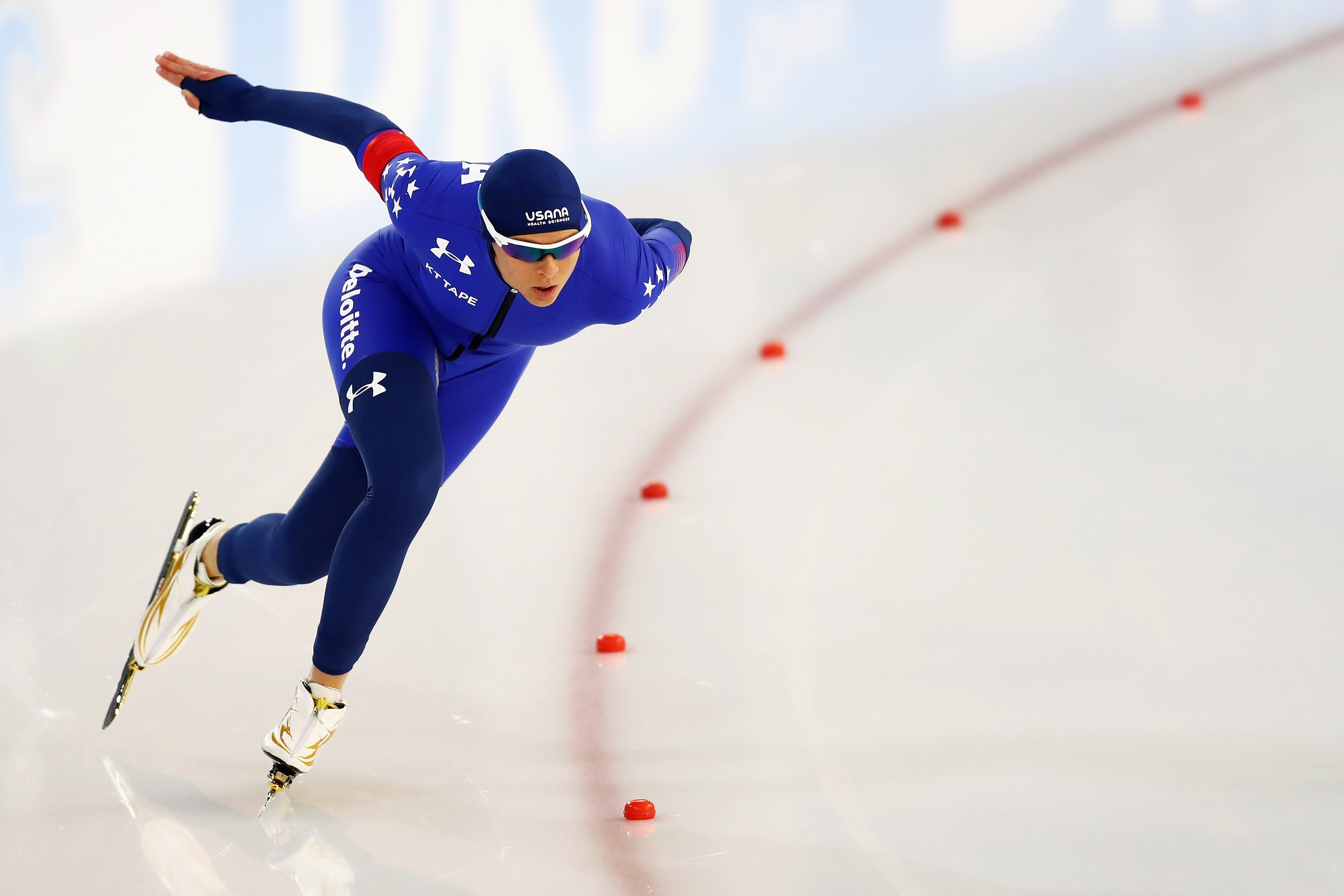 Brittany Bowe of the USA competes in the Women 500m on day 1 of the Speed Skating ISU World Cup on December 9, 2016 in Heerenveen, Netherlands. Dean Mouhtaropoulos—Getty Images.