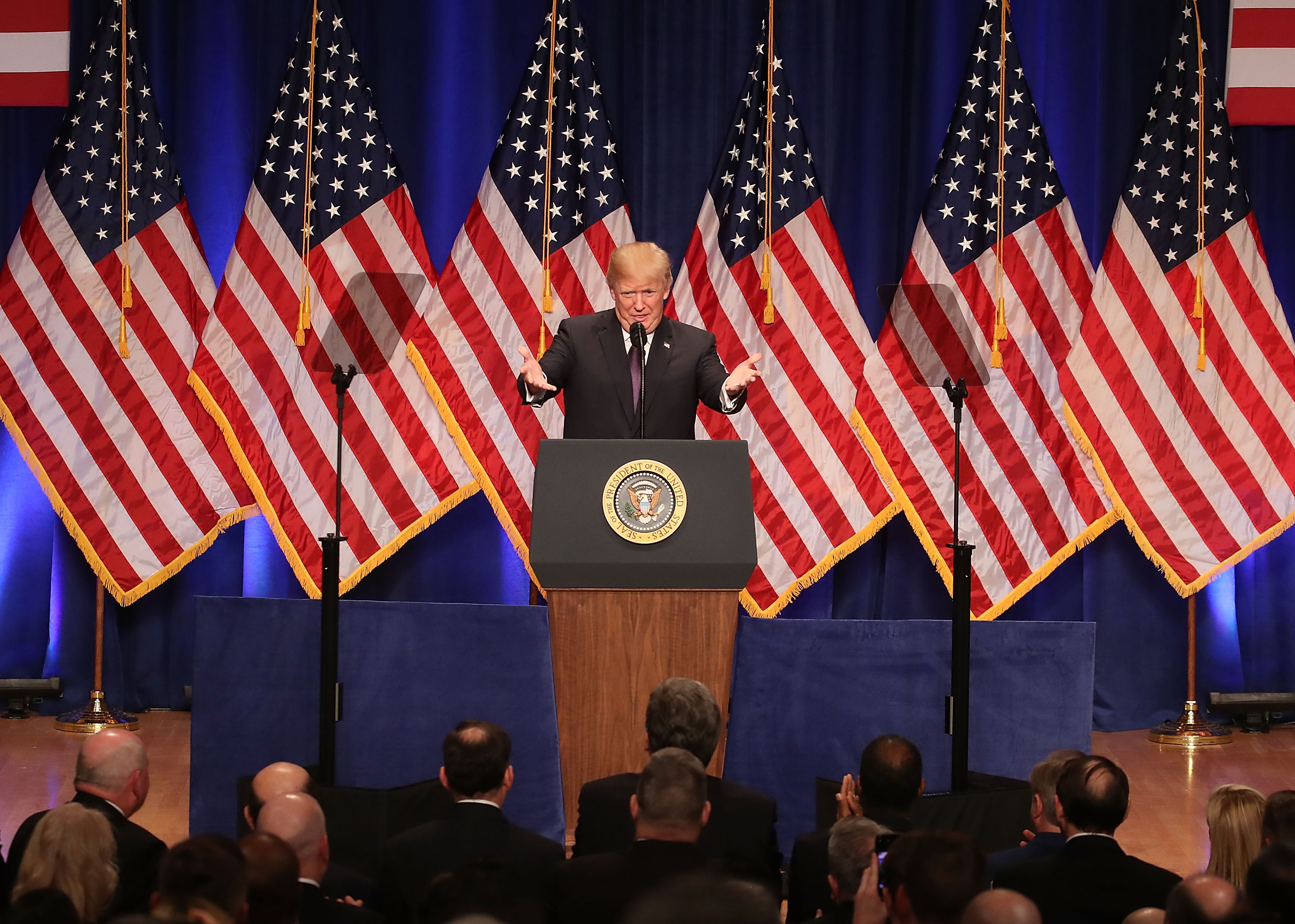 President Donald Trump delivers a speech at the Ronald Reagan Building December 18, 2017 in Washington, DC