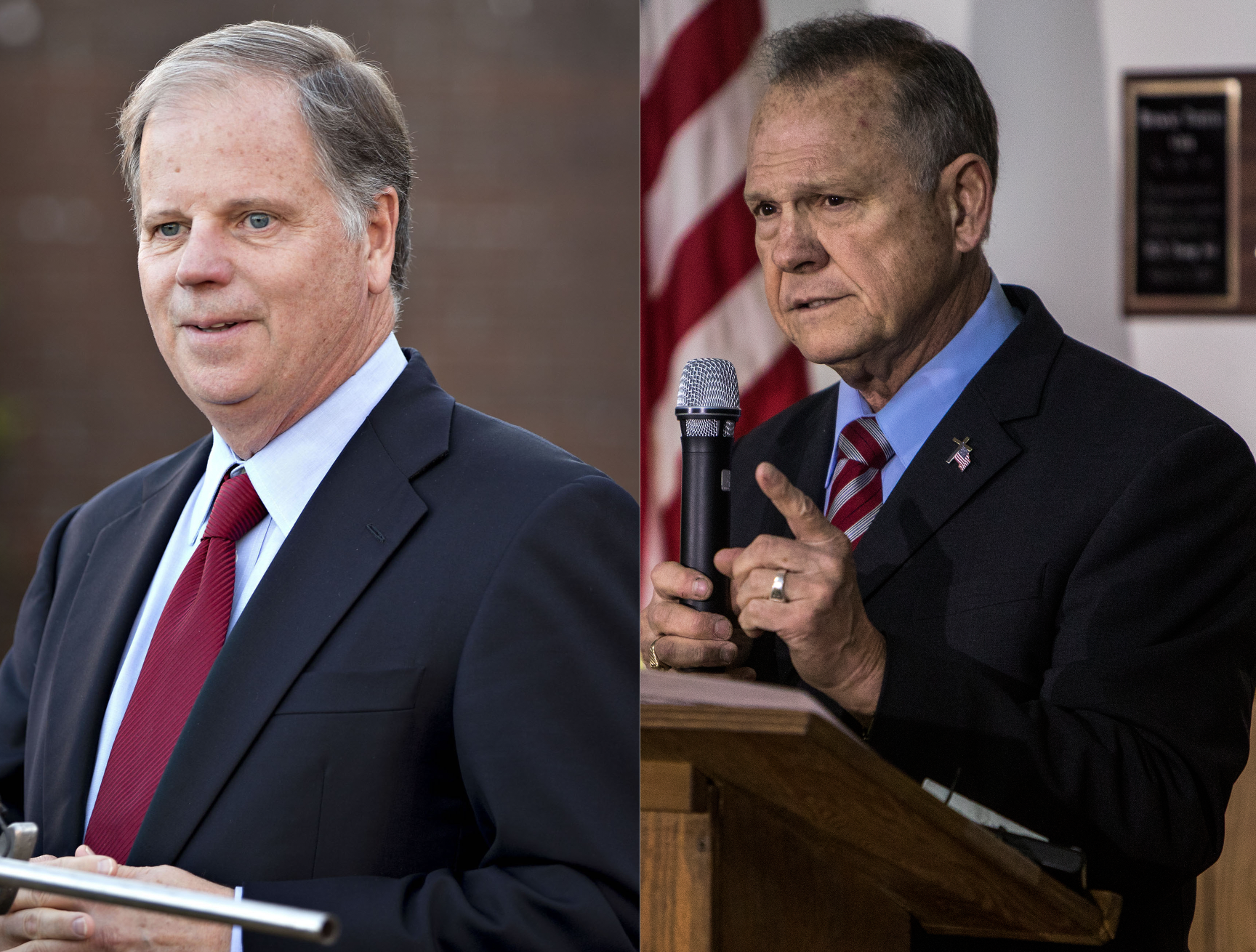 U.S. Senate candidates from Alabama, Doug Jones (D), left, and Roy Moore (R)