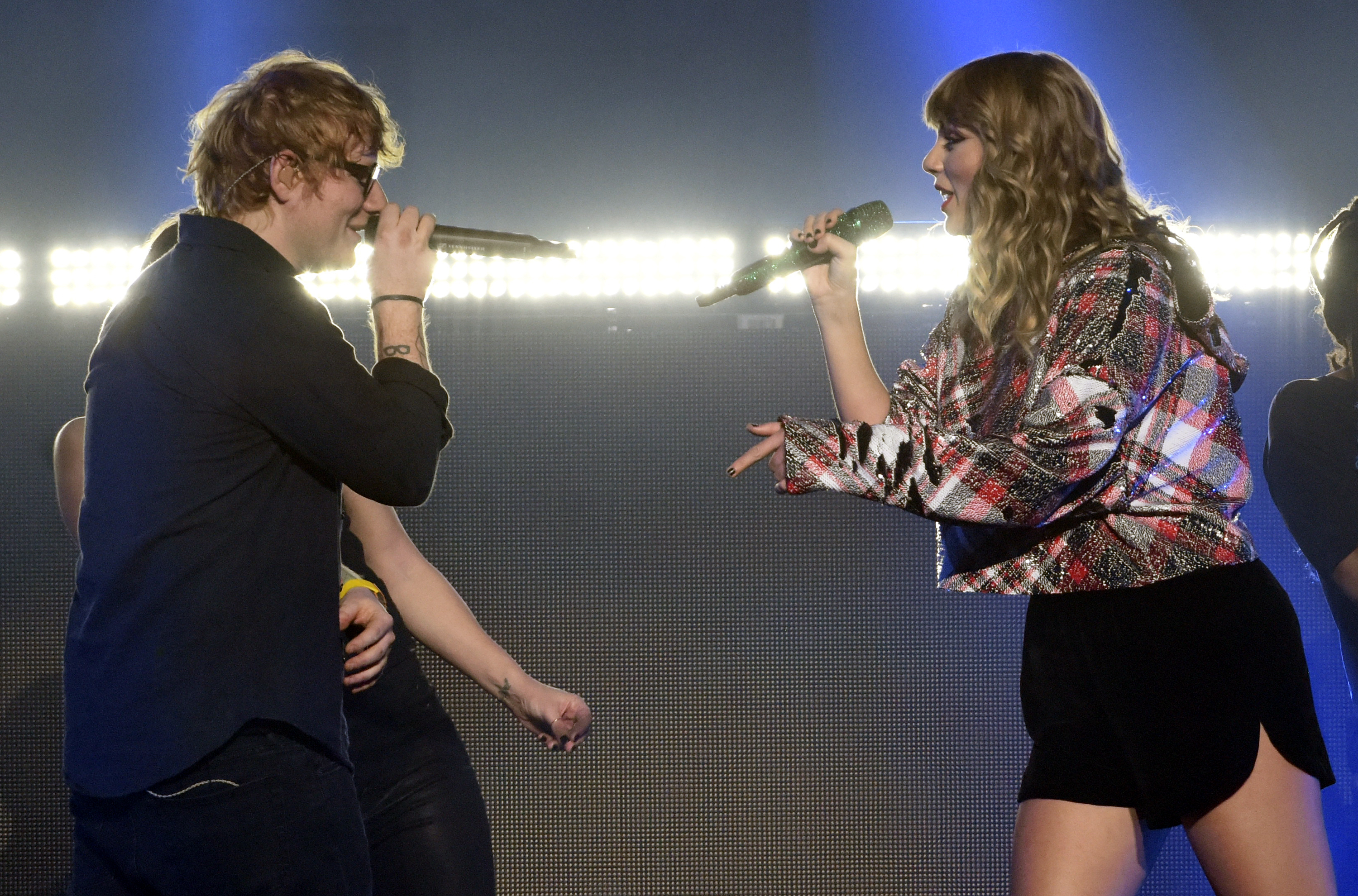Taylor Swift is joined by Ed Sheeran during 99.7 NOW! POPTOPIA at SAP Center on December 2, 2017 in San Jose, California.