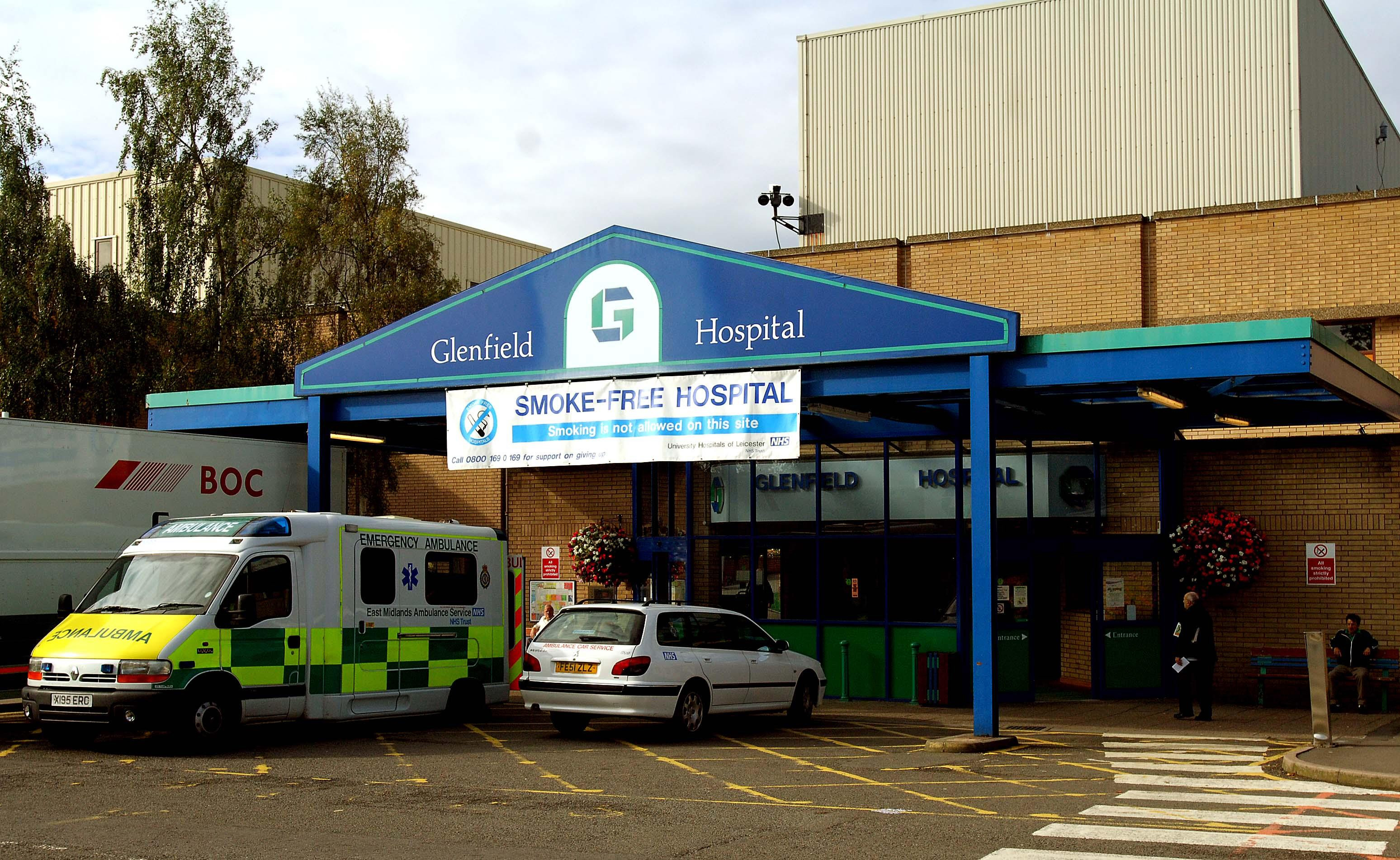 A view of the main entrance at Glenfield Hospital, Leicester.