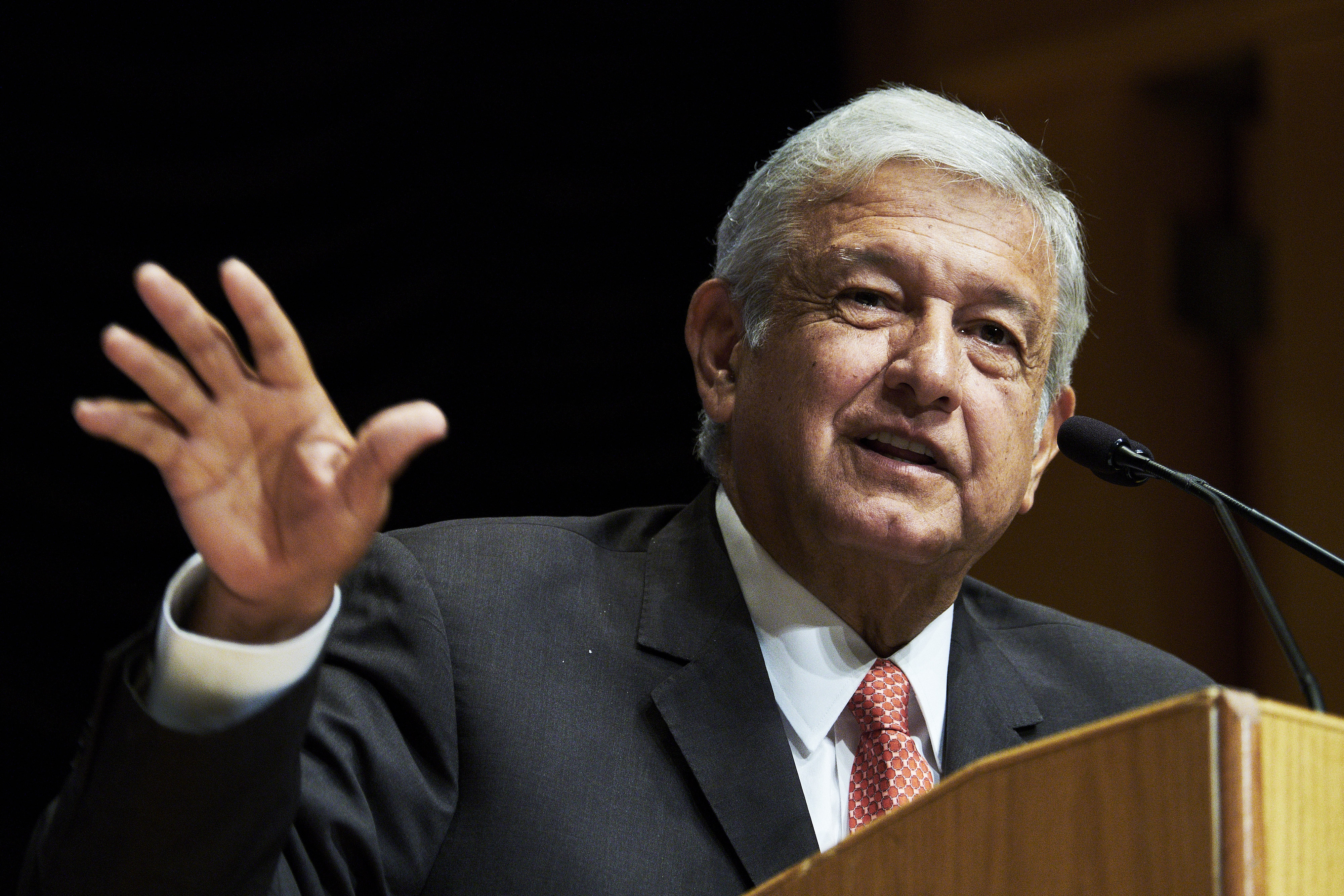Andres Manuel Lopez Obrador, president of the left-wing political party National Regeneration Movement (MORENA), speaks during a 2018 Mexico Elections event  in Washington, D.C., U.S., on Sept. 5, 2017