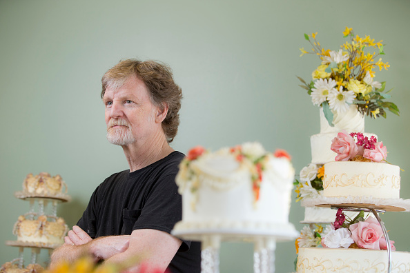 LAKEWOOD, CO - SEPT 1:                                        Jack Phillips stands for a portrait near a display of wedding cakes in his Masterpiece Cakeshop in Lakewood, CO on Thursday, September 1, 2016.                                       Jack Phillips is owner of Masterpiece Cakeshop in Lakewood, Colo., and has a case before the Supreme Court. He is one of the bakers who does not want to bake wedding cakes for same-sex couples, saying it violates his religious beliefs, and has been found in violation of Colorado law.                                      (Photo by Matthew Staver/For The Washington Post via Getty Images)                                      Slug: JACKPHILLIPS