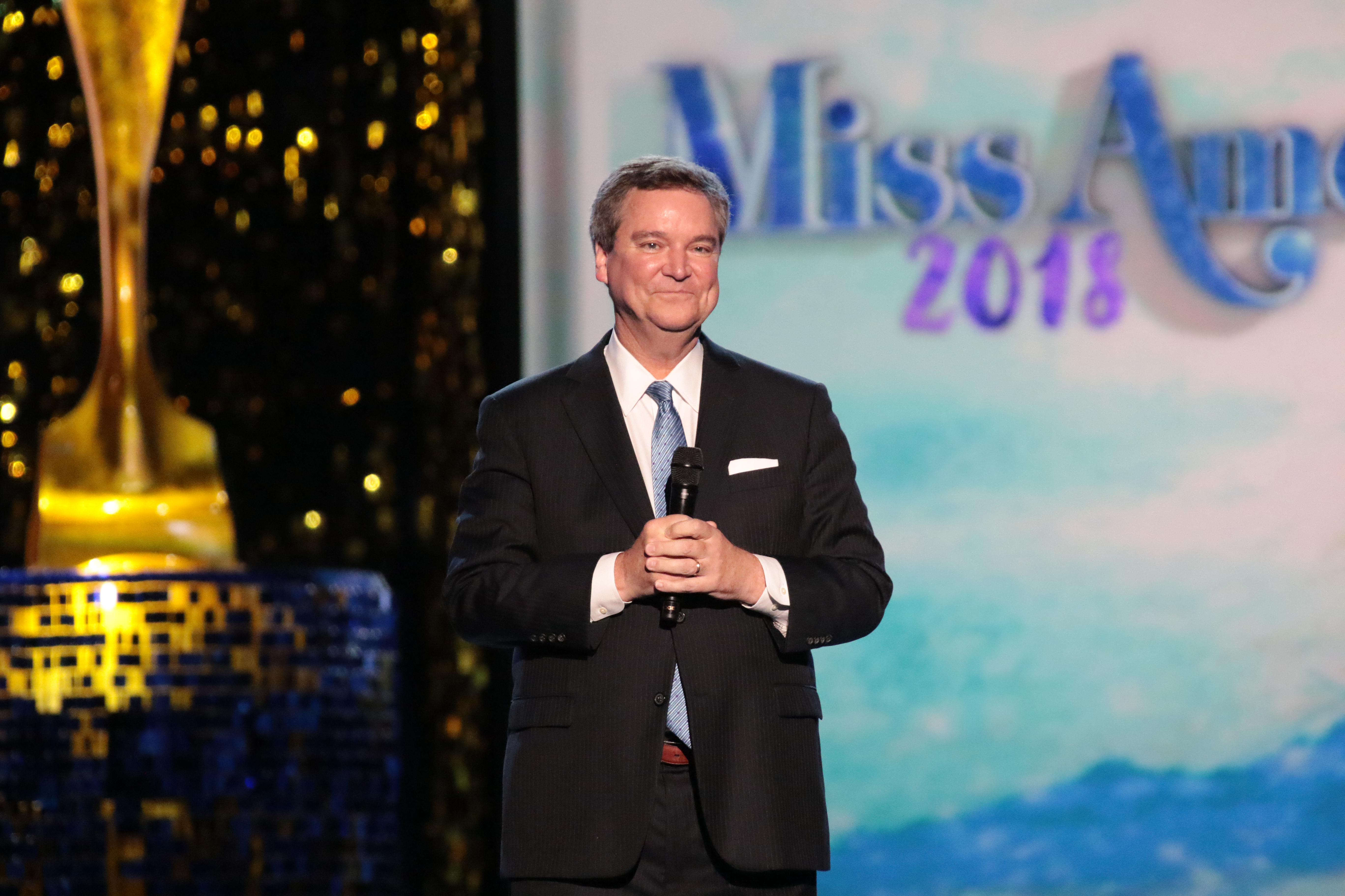SEPT. 08: Sam Haskell  speaks on stage during Miss America 2018