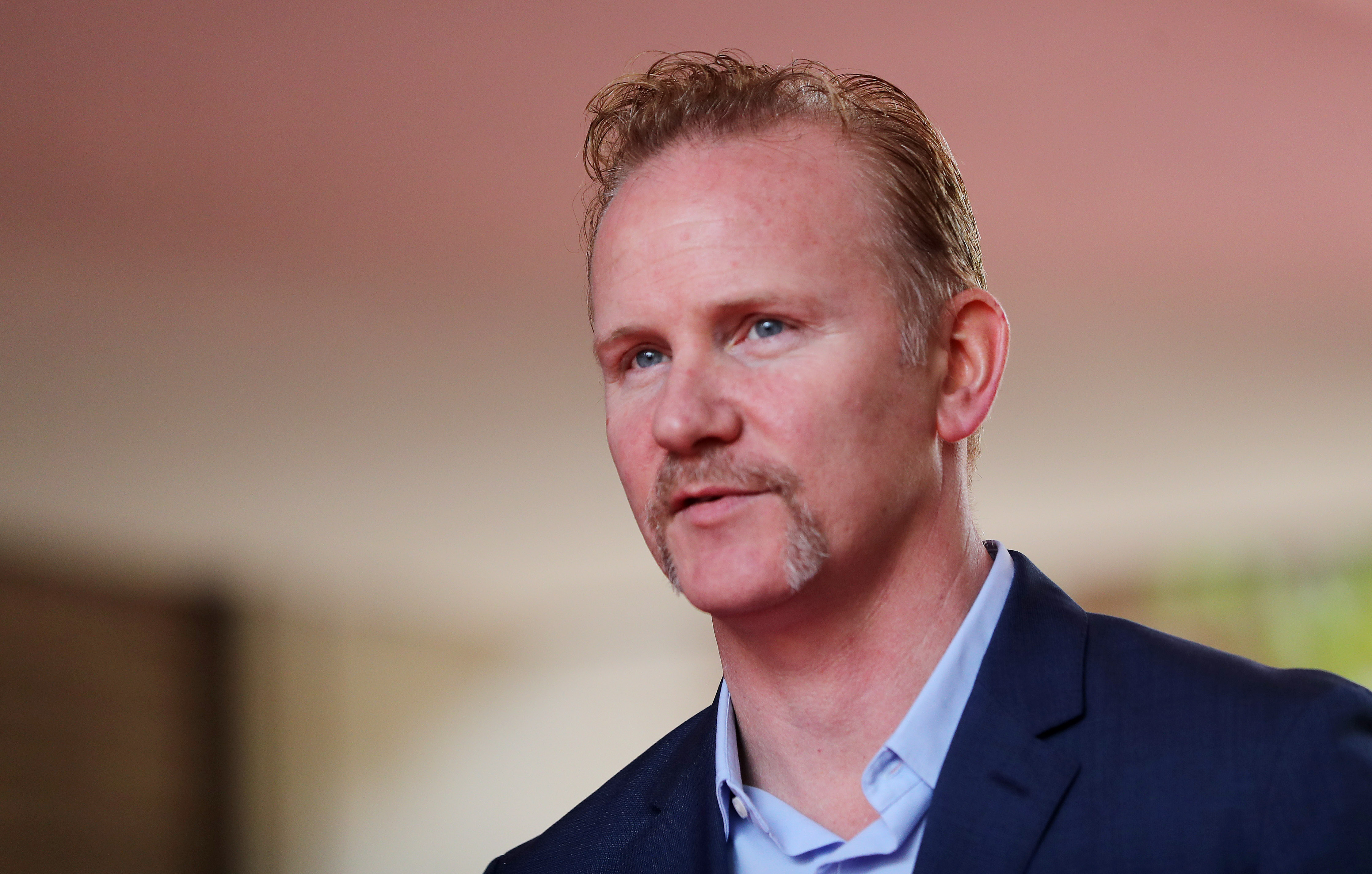 Morgan Spurlock at the red carpet for the movie,  TiFF Super Size Me 2   at the Ryerson Theatre  in Toronto.  Sept.8, 2017.