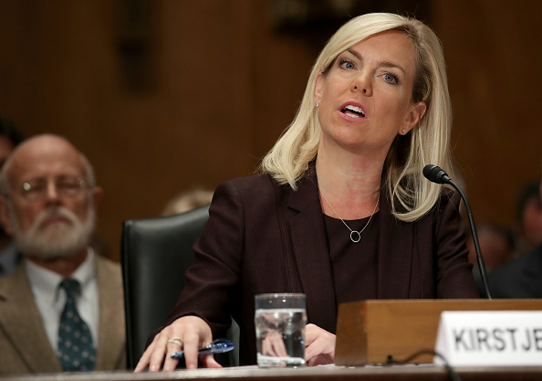 Kirstjen Nielsen, nominee to be the next Secretary of the Homeland Security Department, testifies before the Senate Homeland Security and Governmental Affairs Committee November 8, 2017 in Washington, DC.