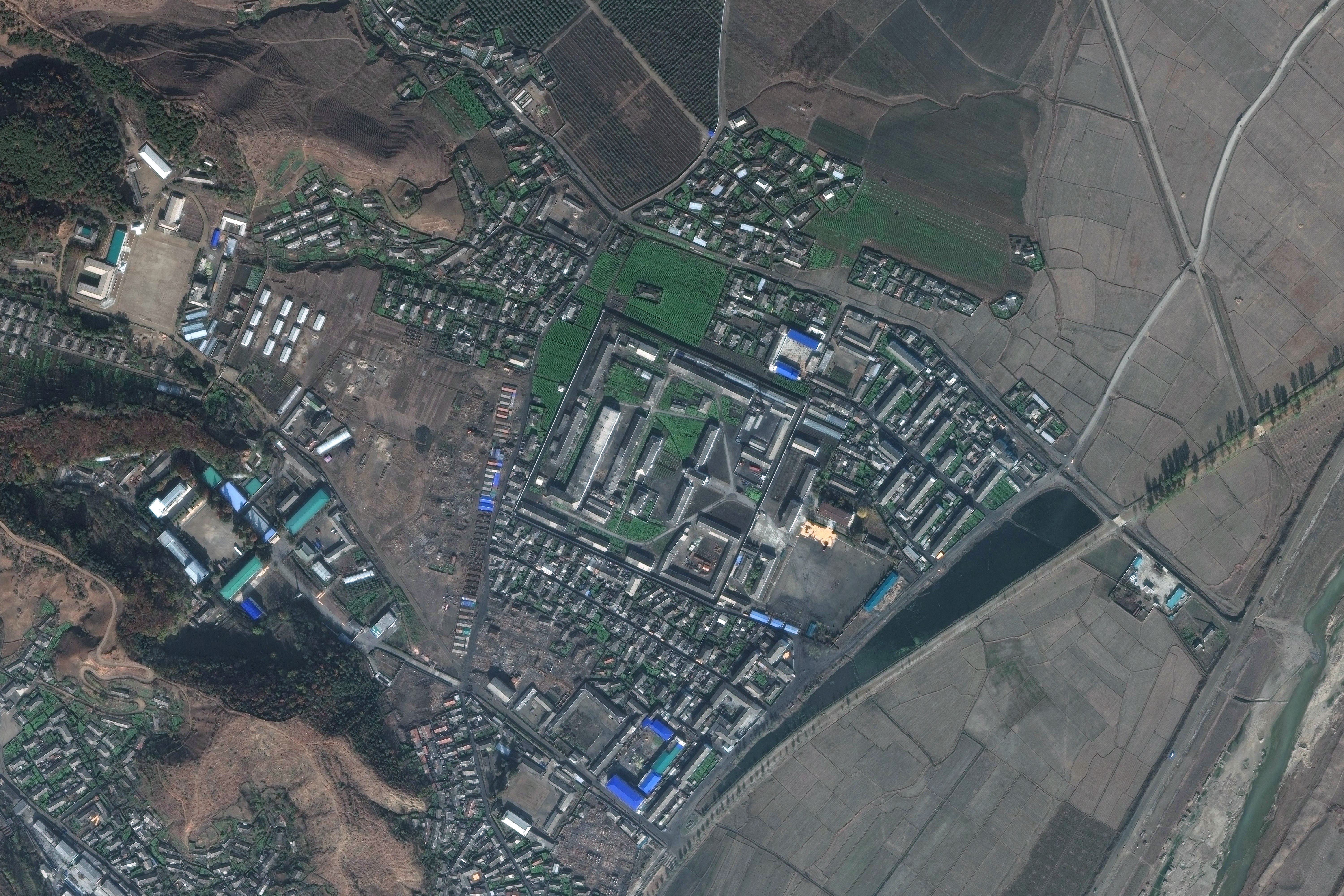DigitalGlobe satellite imagery of Hamhung concentration camp (Kyo-hwa-so No. 15), a reeducation camp in North Korea, on November 4, 2017.