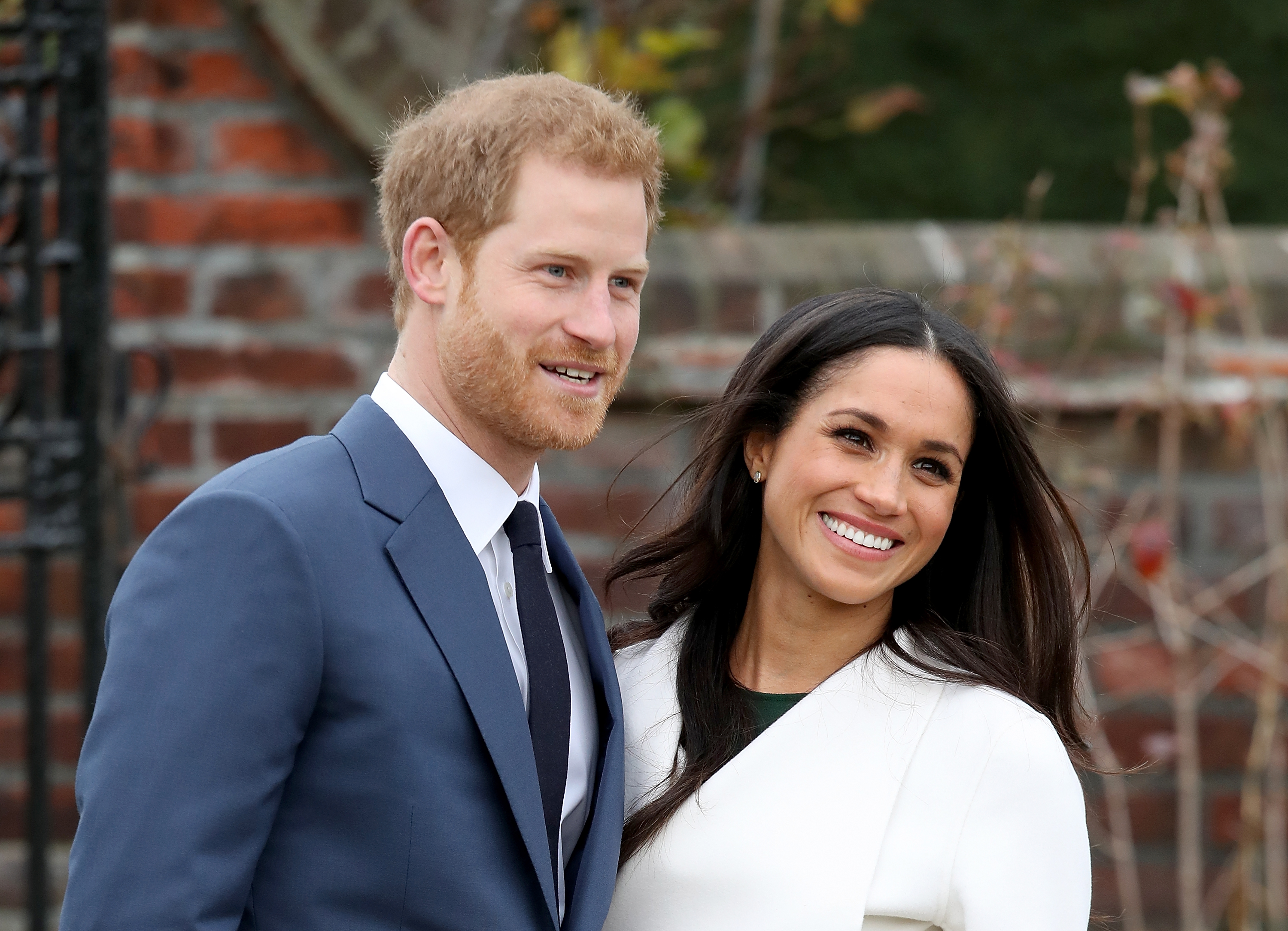 Prince Harry and Meghan Markle announce their engagement at Kensington Palace on Nov. 27, 2017 in London