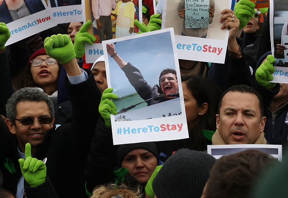 People who call themselves Dreamers, protest in front of the Senate side of the US Capitol to urge Congress in passing the Deferred Action for Childhood Arrivals (DACA) program, on December 6, 2017 in Washington, DC.