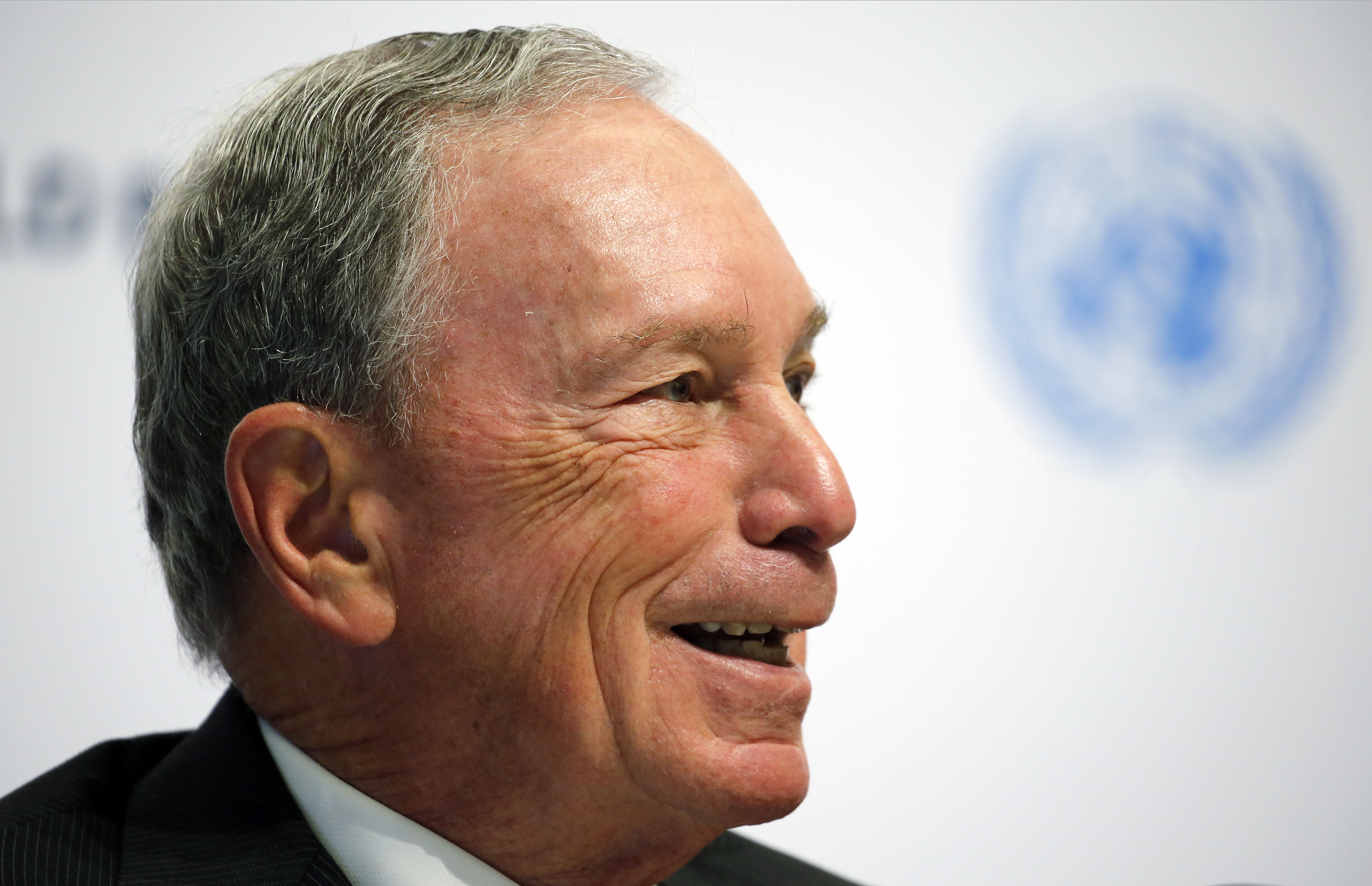 Special envoy to the United Nations for climate change Michael Bloomberg attends a press conference during the One Planet Summit at the Seine Musicale on the Ile Sequin on Dec. 12 in Boulogne-Billancourt, France