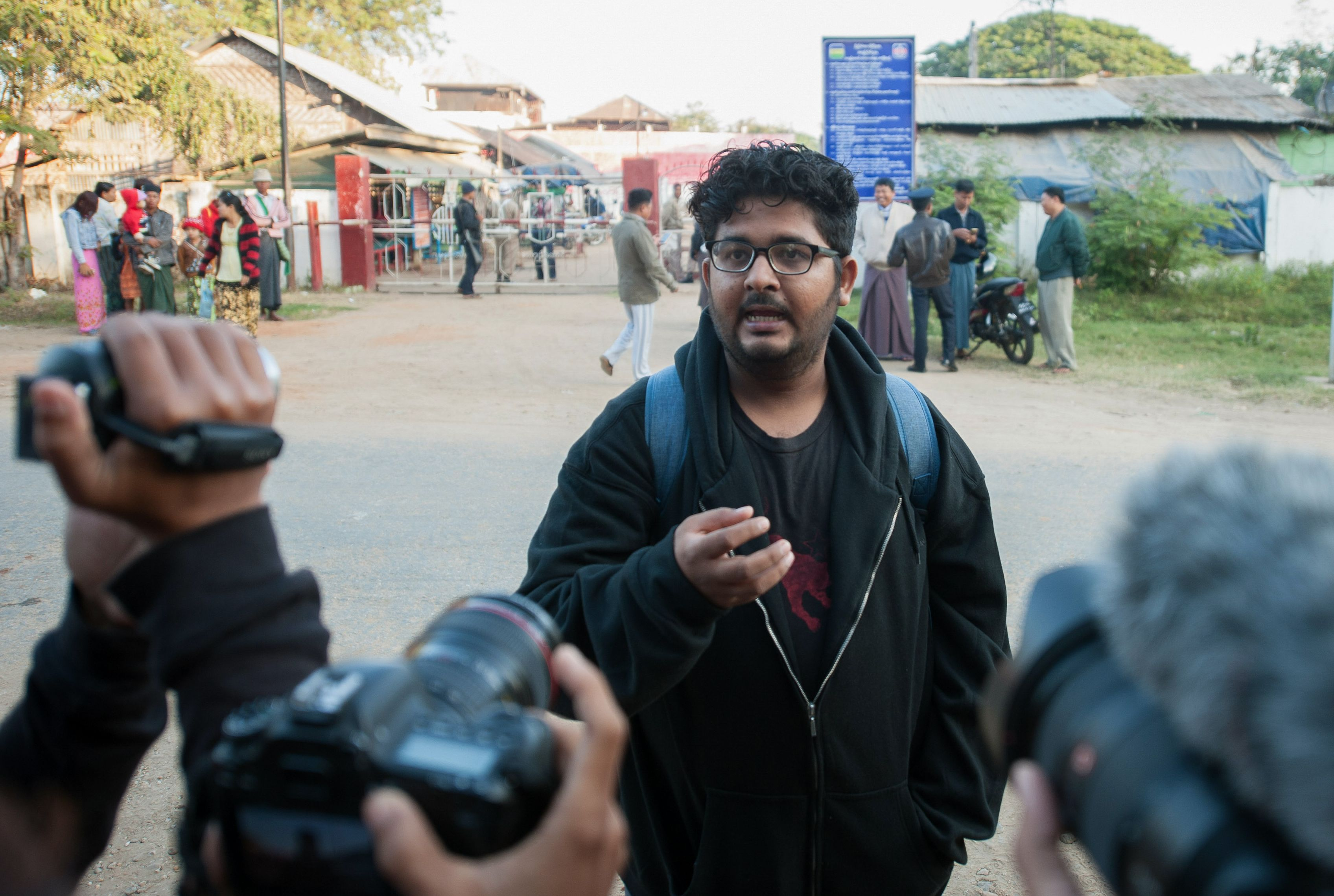 Myanmar journalist Aung Naing Soe speaks to the media after being release from Yamethin prison near Naypyidaw on Dec. 29, 2017.