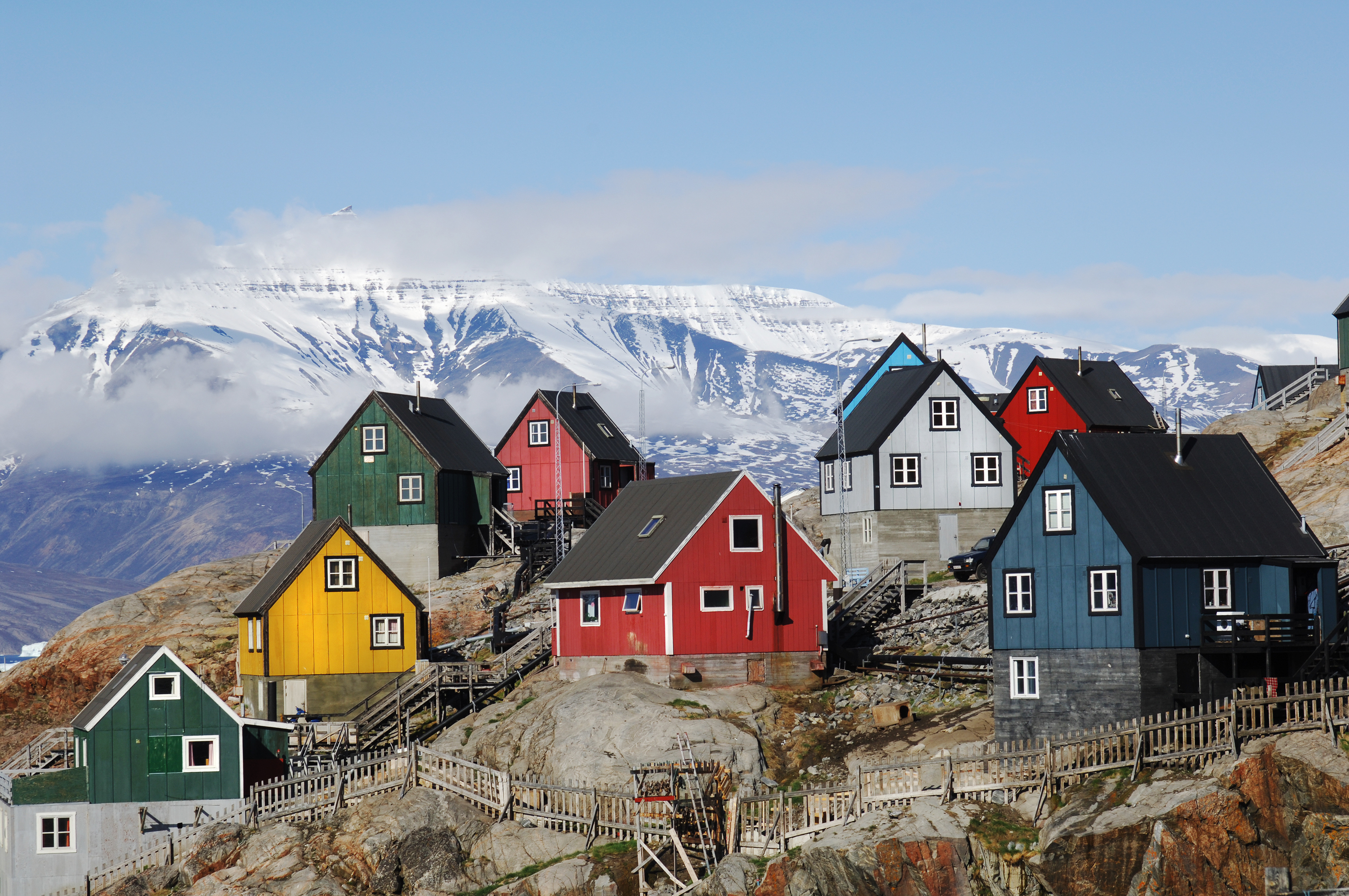 Homes on the island of Uummannaq, Greenland