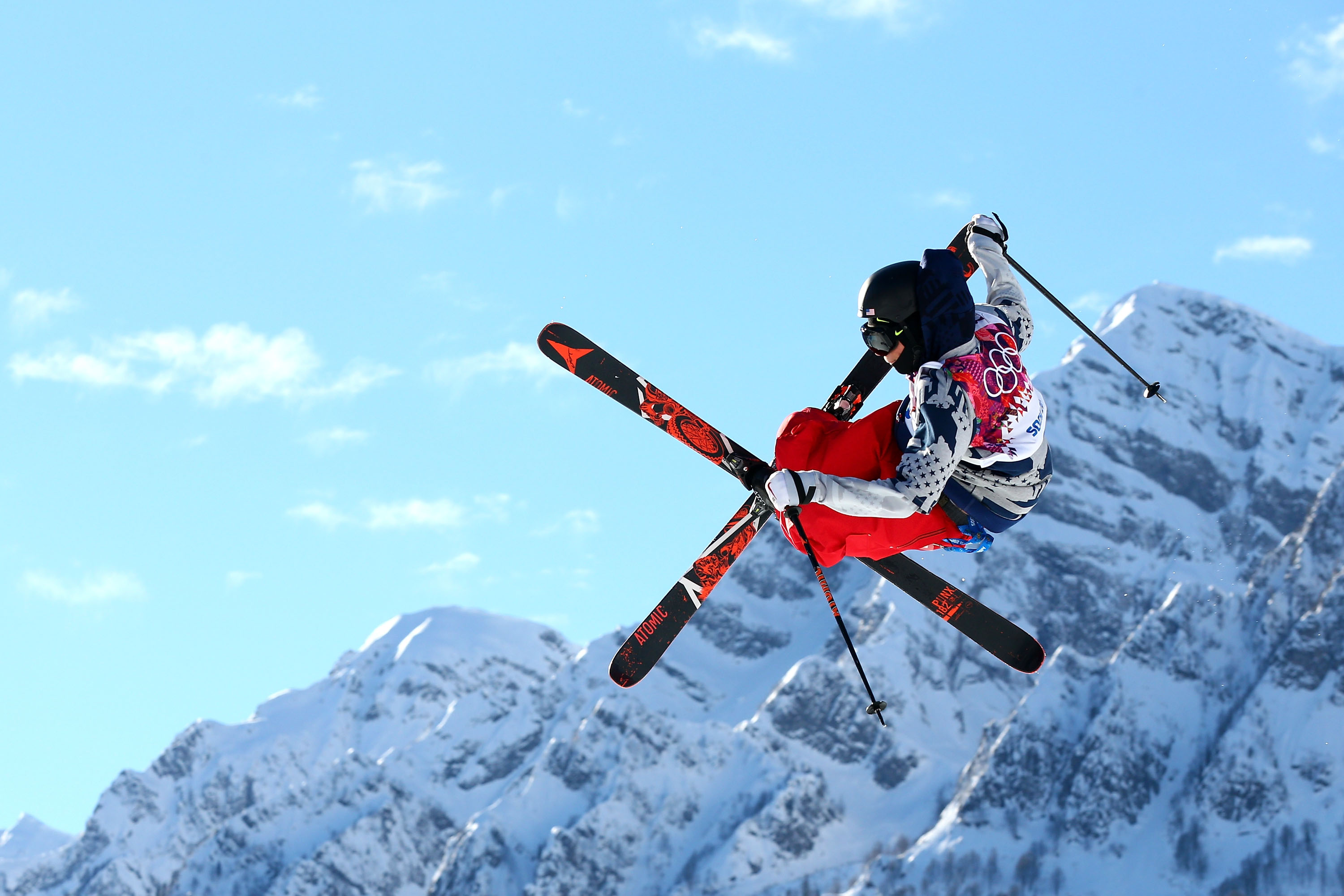 Gus Kenworthy of the United States competes in the Freestyle Skiing Men's Ski Slopestyle Qualification during day six of the Sochi 2014 Winter Olympics at Rosa Khutor Extreme Park on February 13, 2014 in Sochi, Russia.