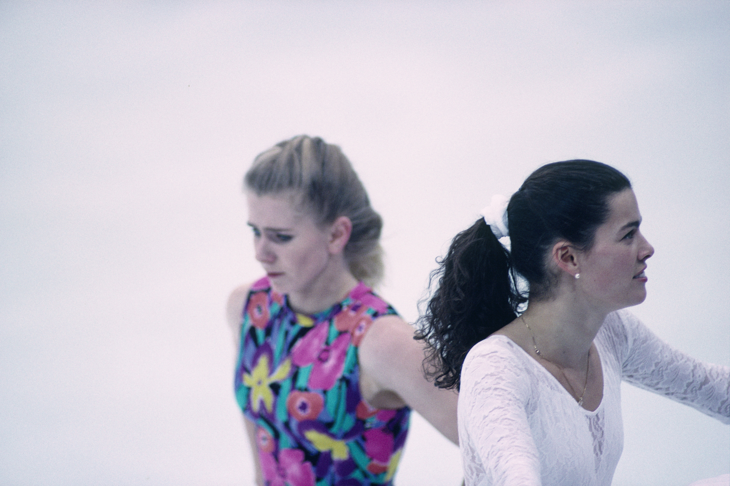 Tonya Harding (L) and Nancy Kerrigan, both from USA, during a training session of the 1994 Winter Olympics.