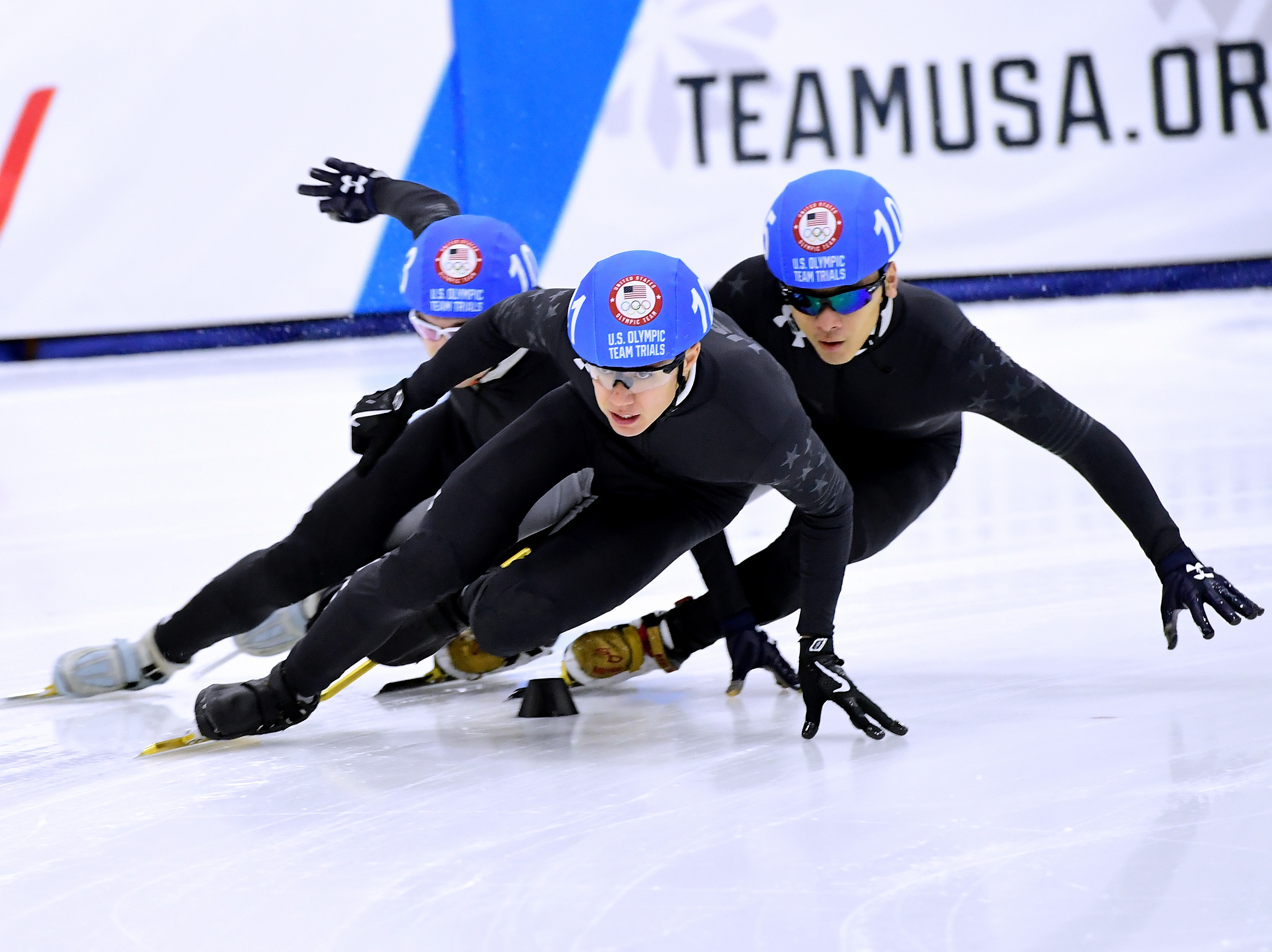 J.R. Celski #102 turns ahead of Aaron Tran #105 during the 2018 U.S. Speedskating Short Track Olympic Team Trials at the Utah Olympic Oval on December 17, 2017 in Salt Lake City, Utah. Harry How—Getty Images.