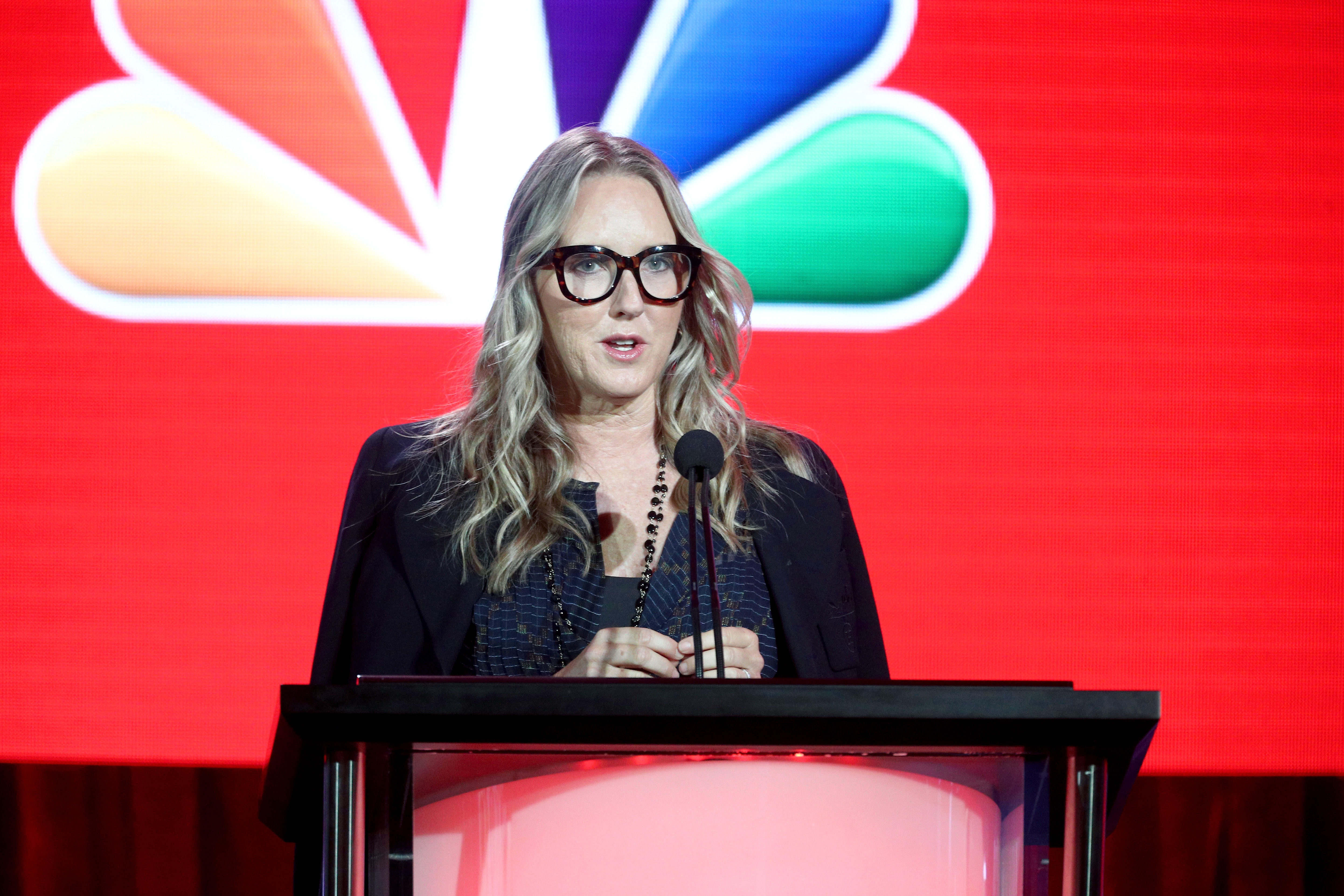 President of NBC Entertainment Jennifer Salke speaks onstage during the NBCUniversal portion of the 2018 Winter Television Critics Association Press Tour at The Langham Huntington, Pasadena on January 9, 2018 in Pasadena, California.
