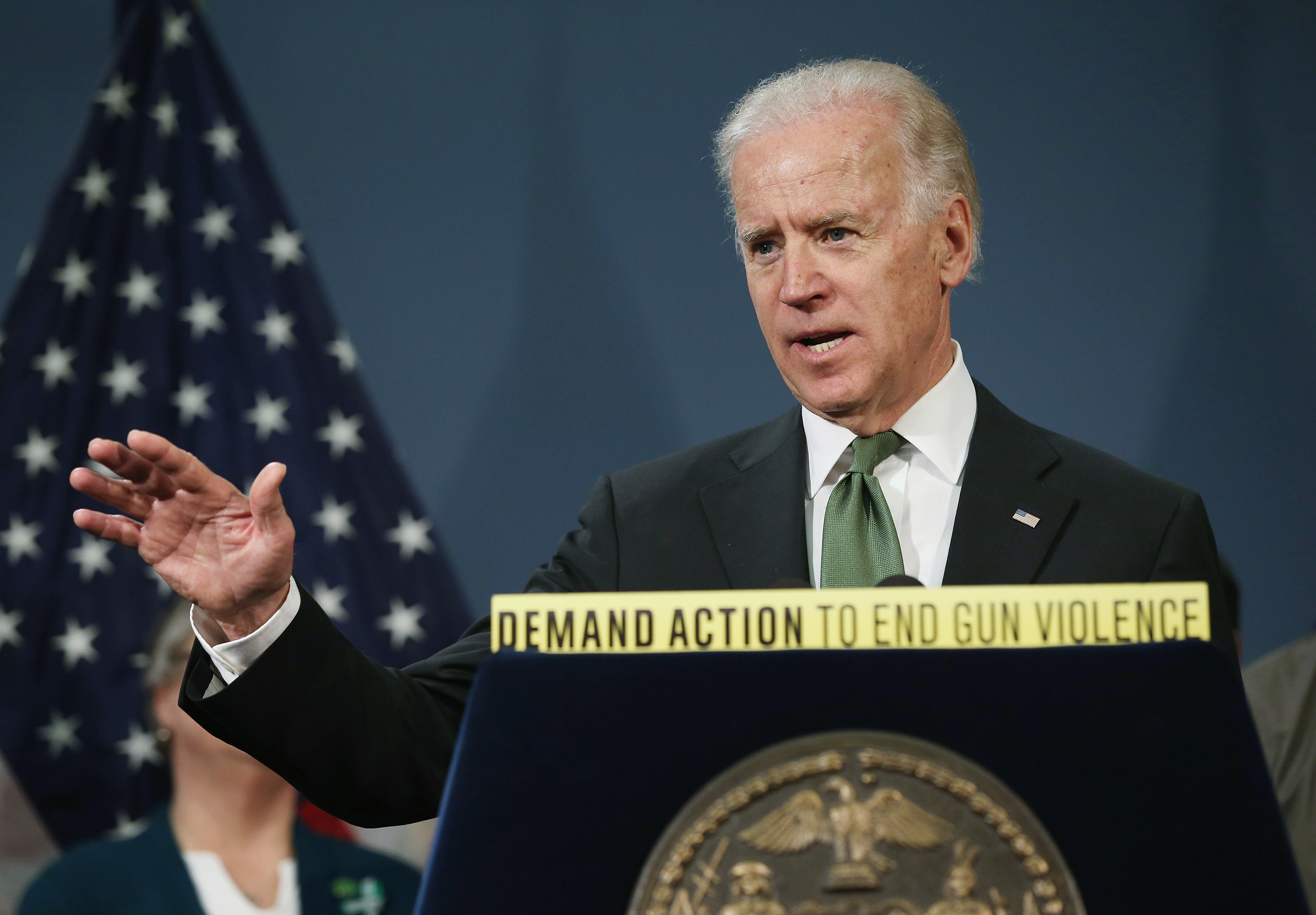 Former Vice President Joe Biden speaks in favor of gun reform legislation at a press conference with family members of Sandy Hook shooting victims on March 21, 2013 in New York City.