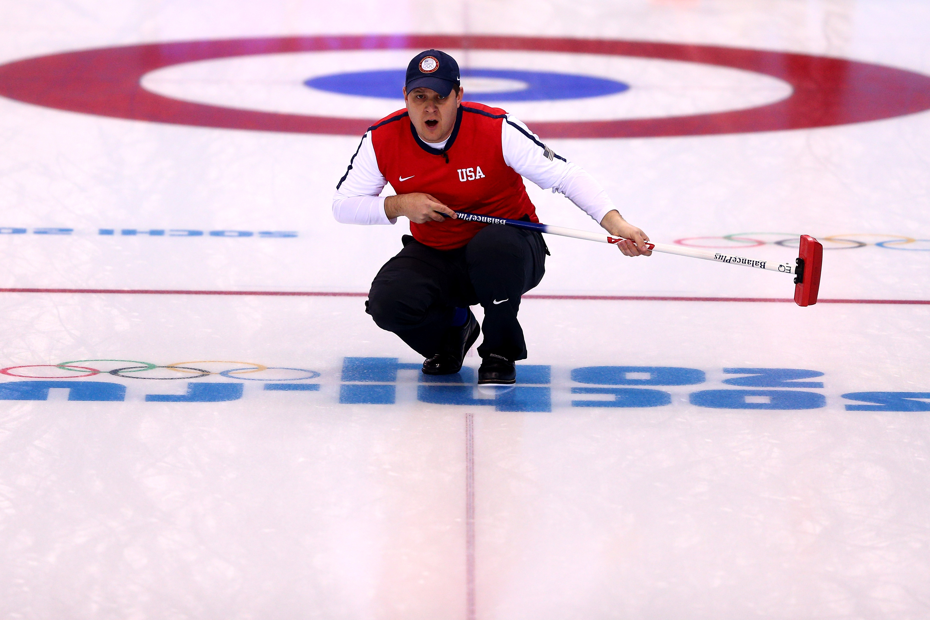 John Shuster of United States looks on during the Curling Men's Round Robin match on day 9 of the Sochi 2014 Winter Olympics at Ice Cube Curling Center on February 16, 2014 in Sochi, Russia. Paul Gilham—Getty Images