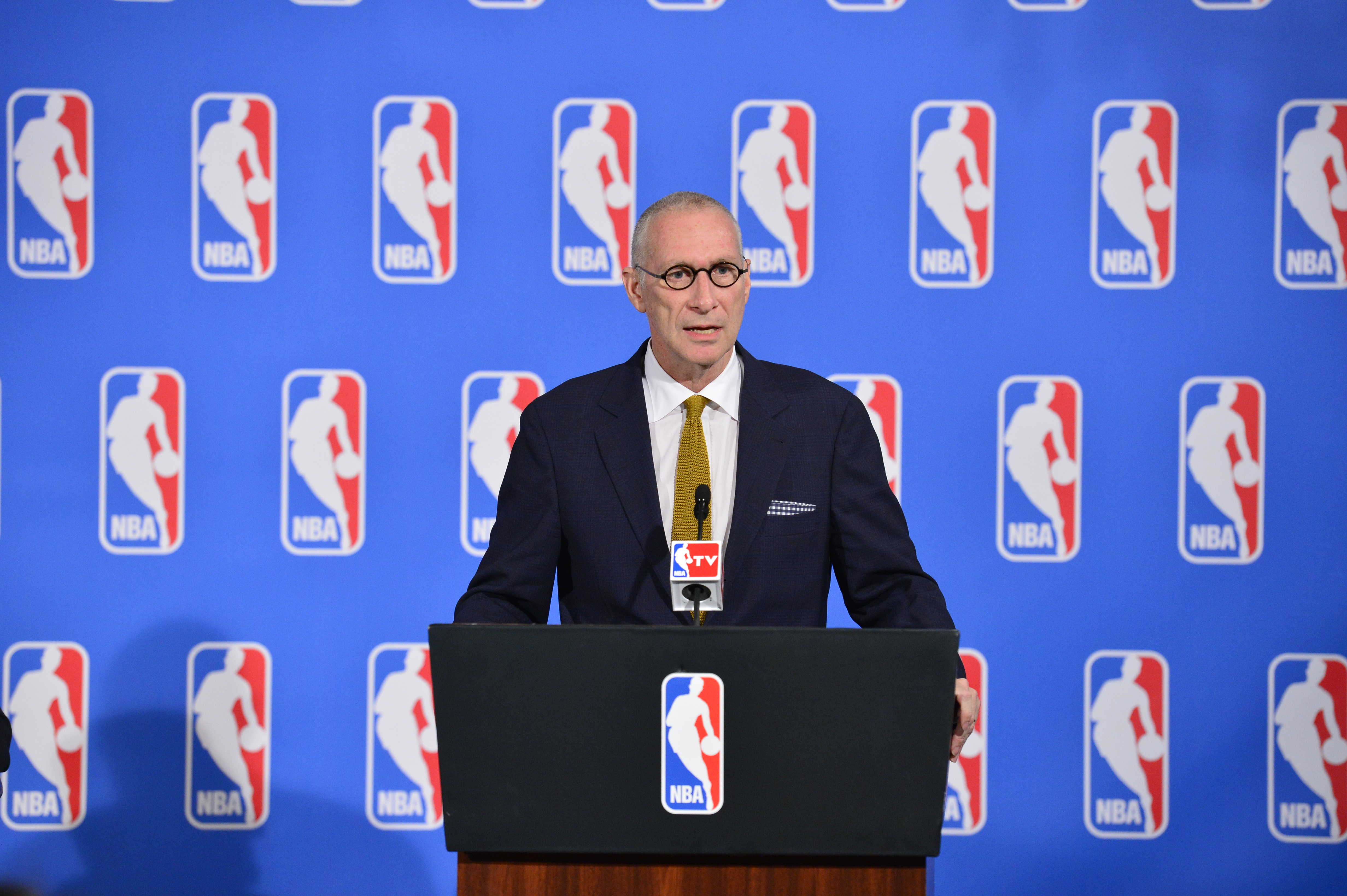 John Skipper, ESPN President and Disney Media Networks Co-Chairman and the NBA announce a new media partnerships on October 06, 2014 in New York City, New York.