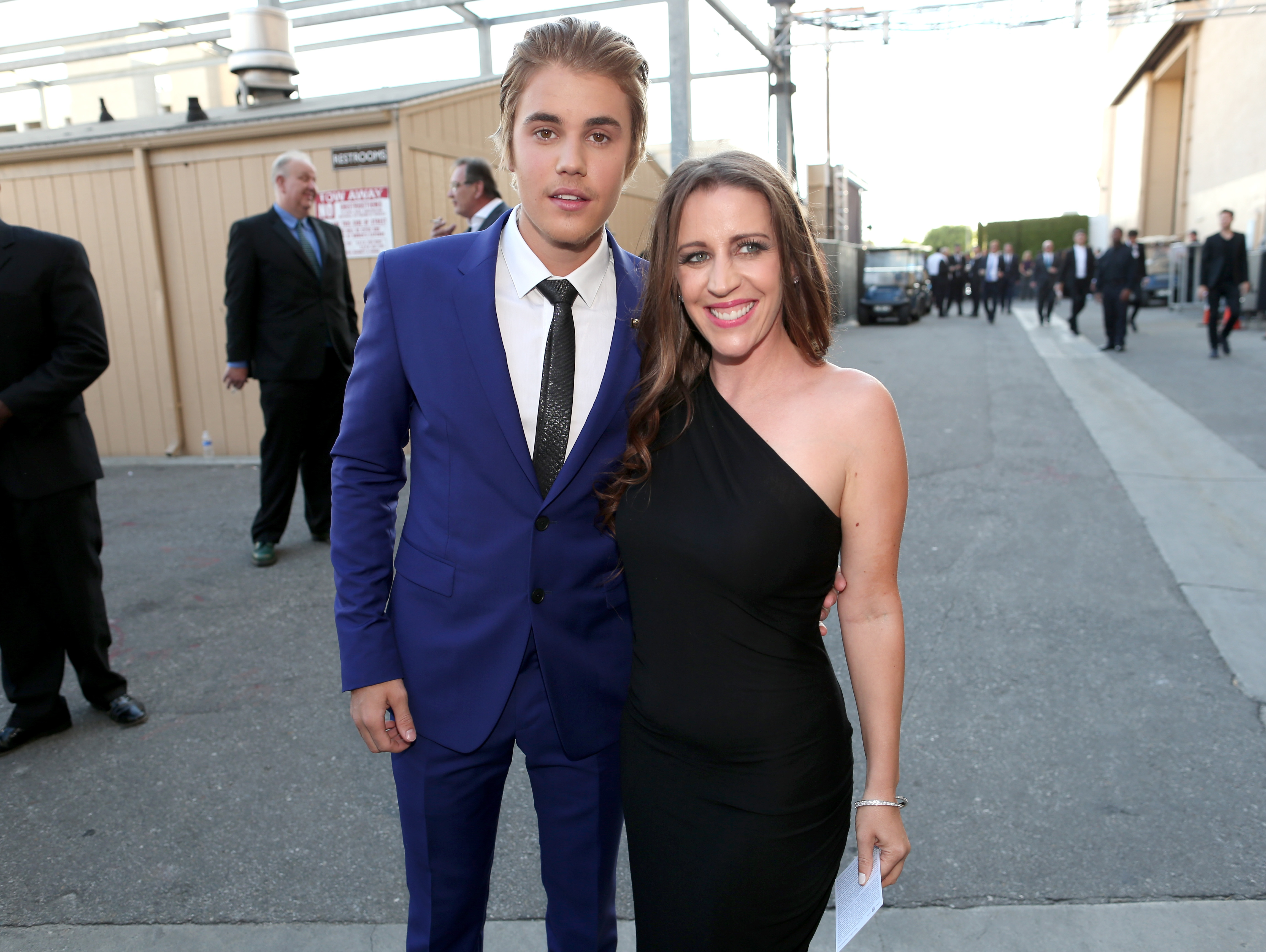 Justin Bieber and his mom, author Pattie Mallette, attend The Comedy Central Roast of Justin Bieber on March 14, 2015 in Los Angeles