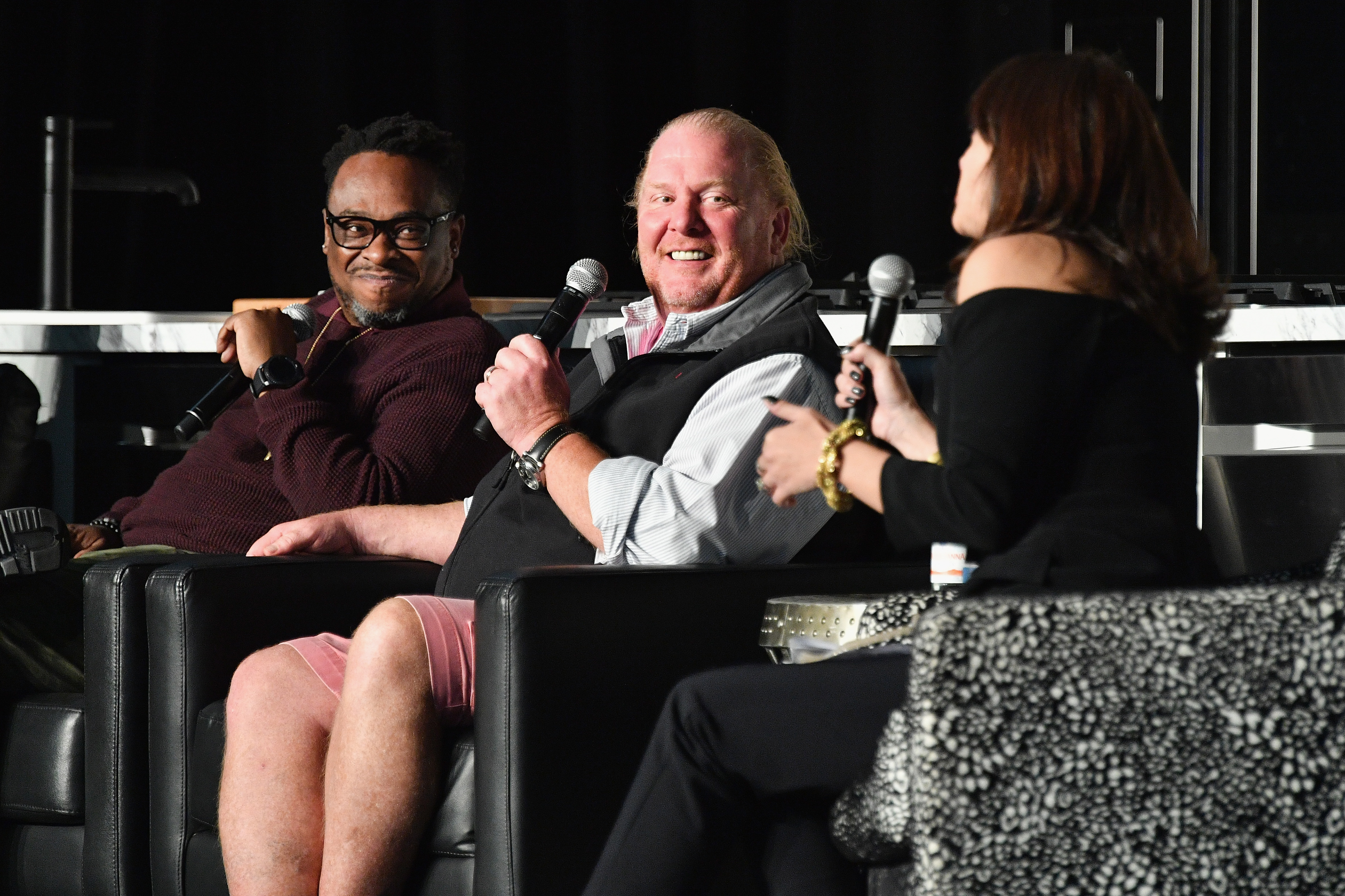 Mario Batali speaks on the Chefs are Rock Stars and Rock Stars are Chefs panel during the Food Network & Cooking Channel New York City Wine & Food Festival.