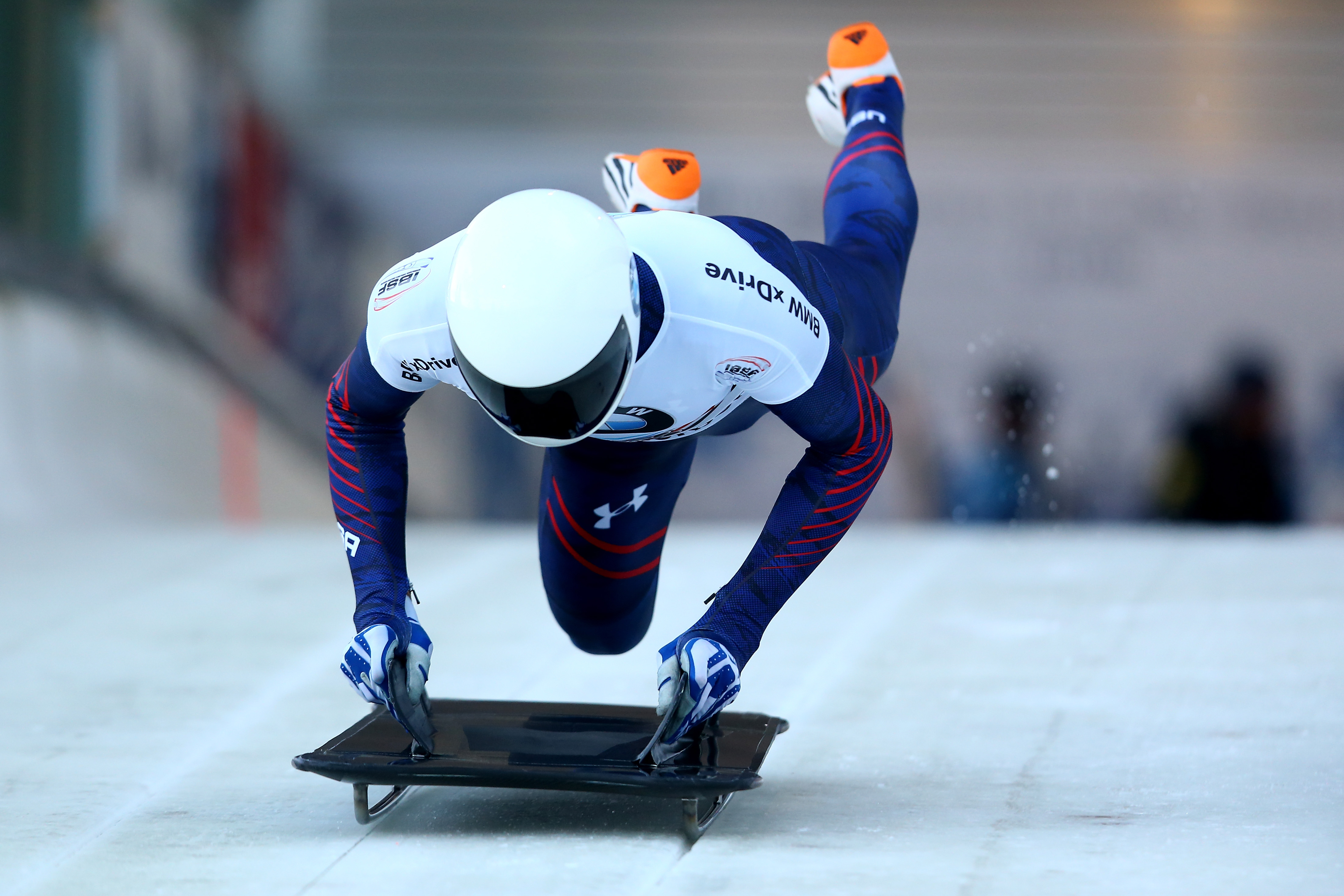 Matthew Antoine of United States competes in his first run of the men's skeleton competition during the BMW IBSF Bob & Skeleton Worldcup at Veltins Eis-Arena on December 4, 2015 in Winterberg, Germany. Christof Koepsel—Bongarts/Getty Images.
