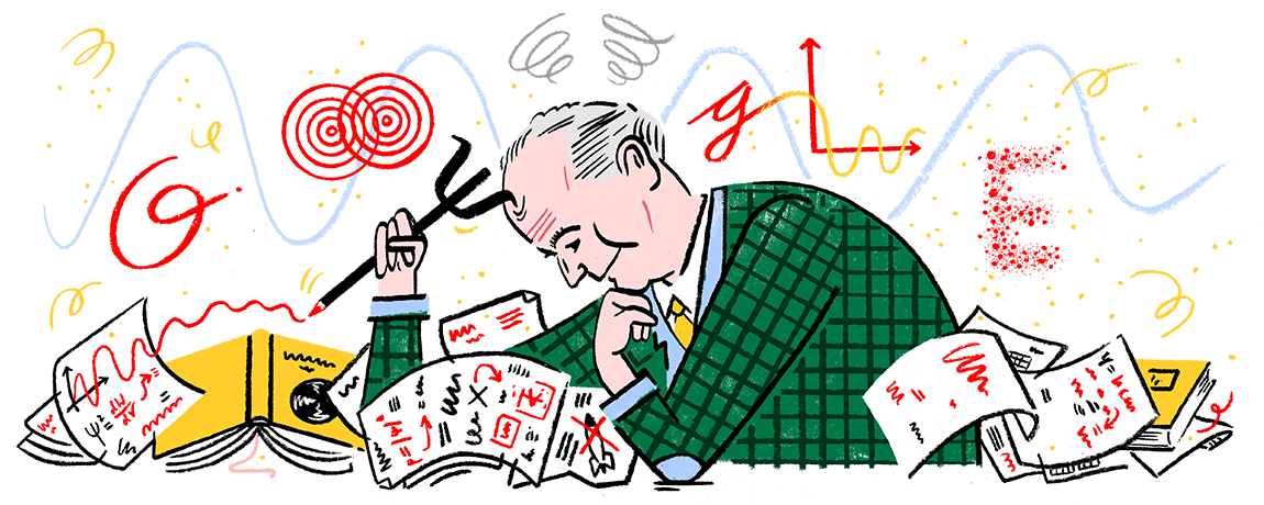 Today's Doodle celebrates the 135th birthday of Max Born, German physicist and mathematician who was awarded the Nobel Prize for his contribution to the field of quantum mechanics.