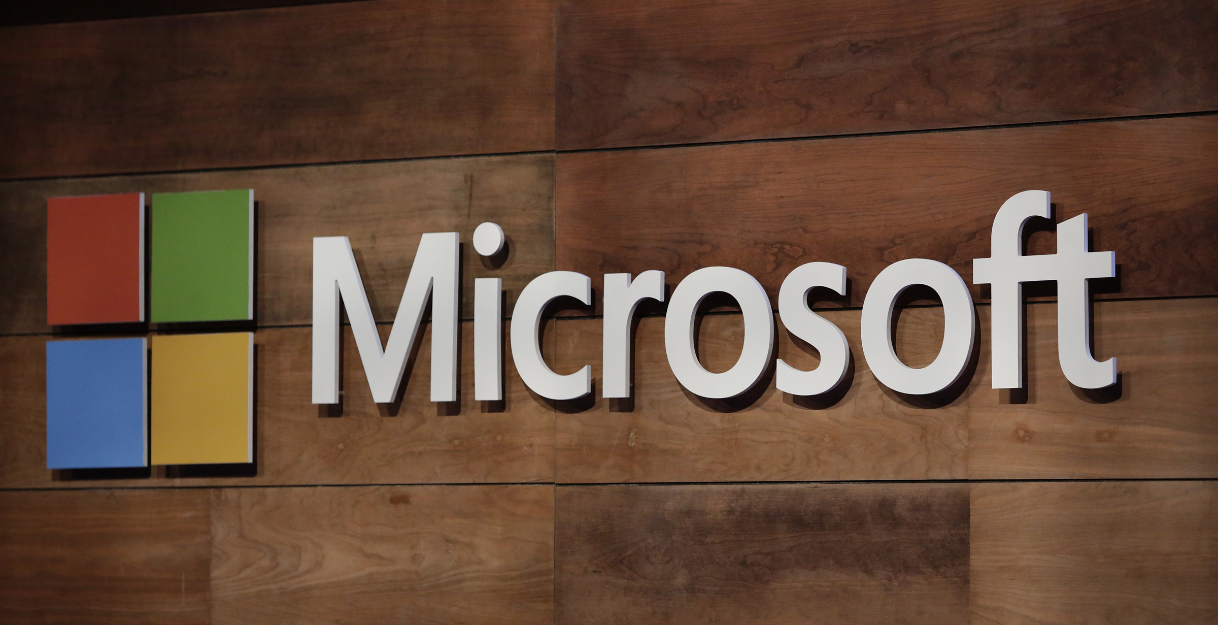 The Microsoft logo is pictured during the annual Microsoft shareholders meeting in Bellevue, Washington on November 29, 2017.