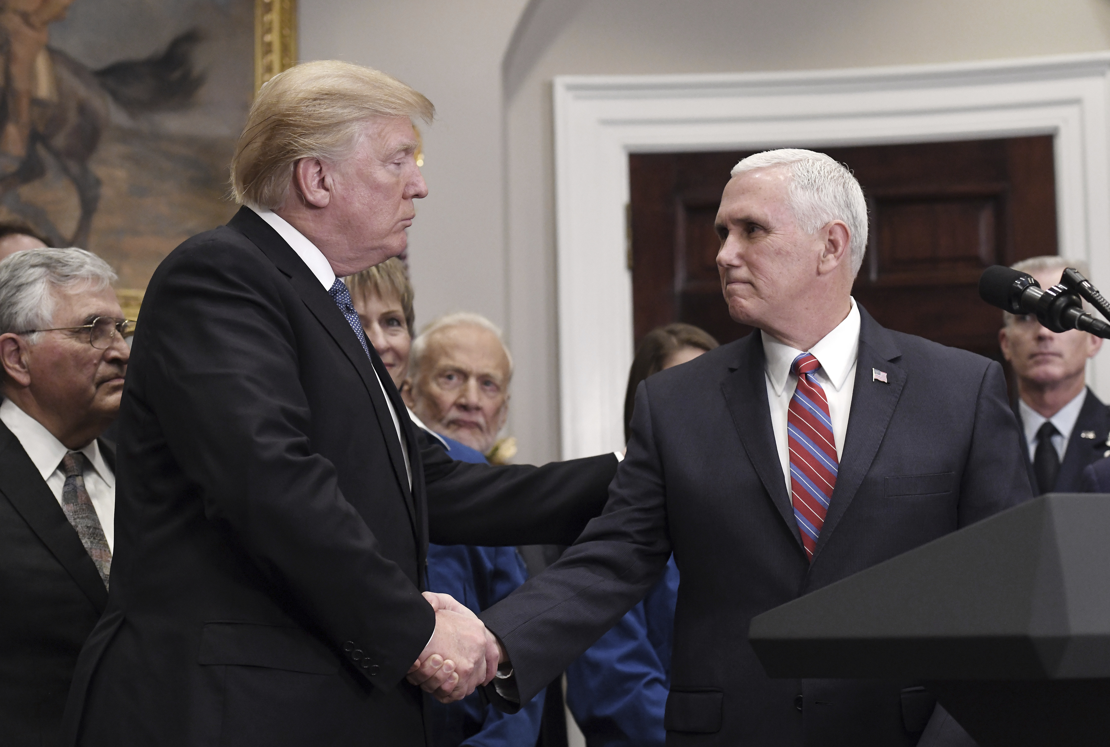 President Trump and VP Mike Pence at the White House on Dec. 11, 2017 in Washington, DC