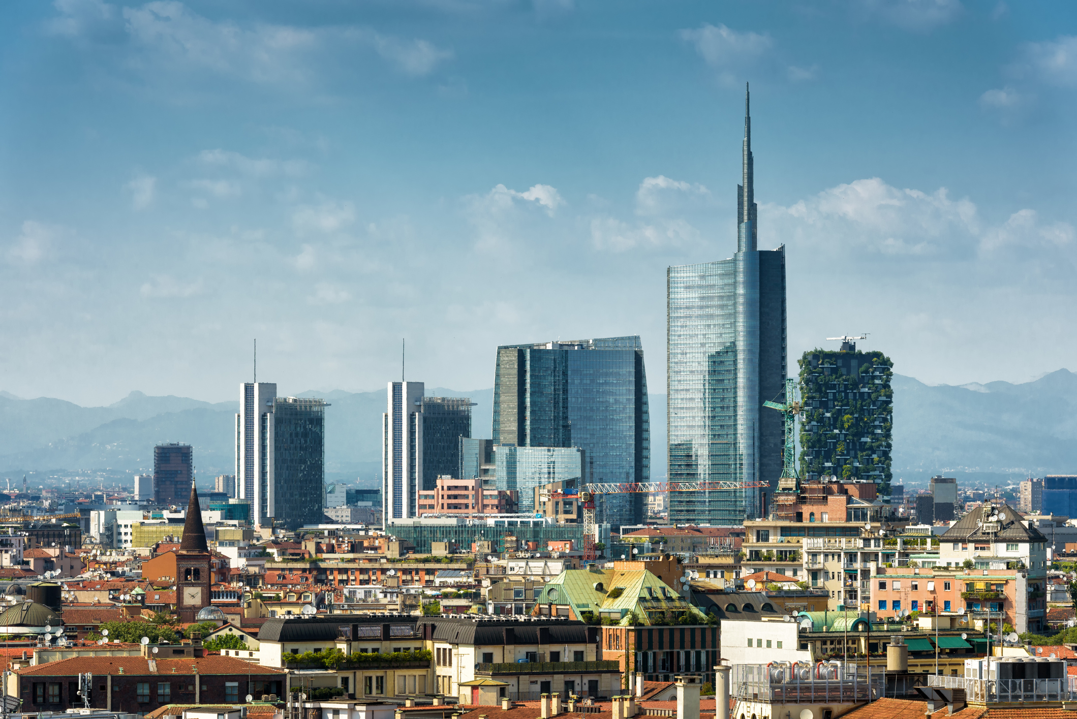 Milan skyline with modern skyscrapers