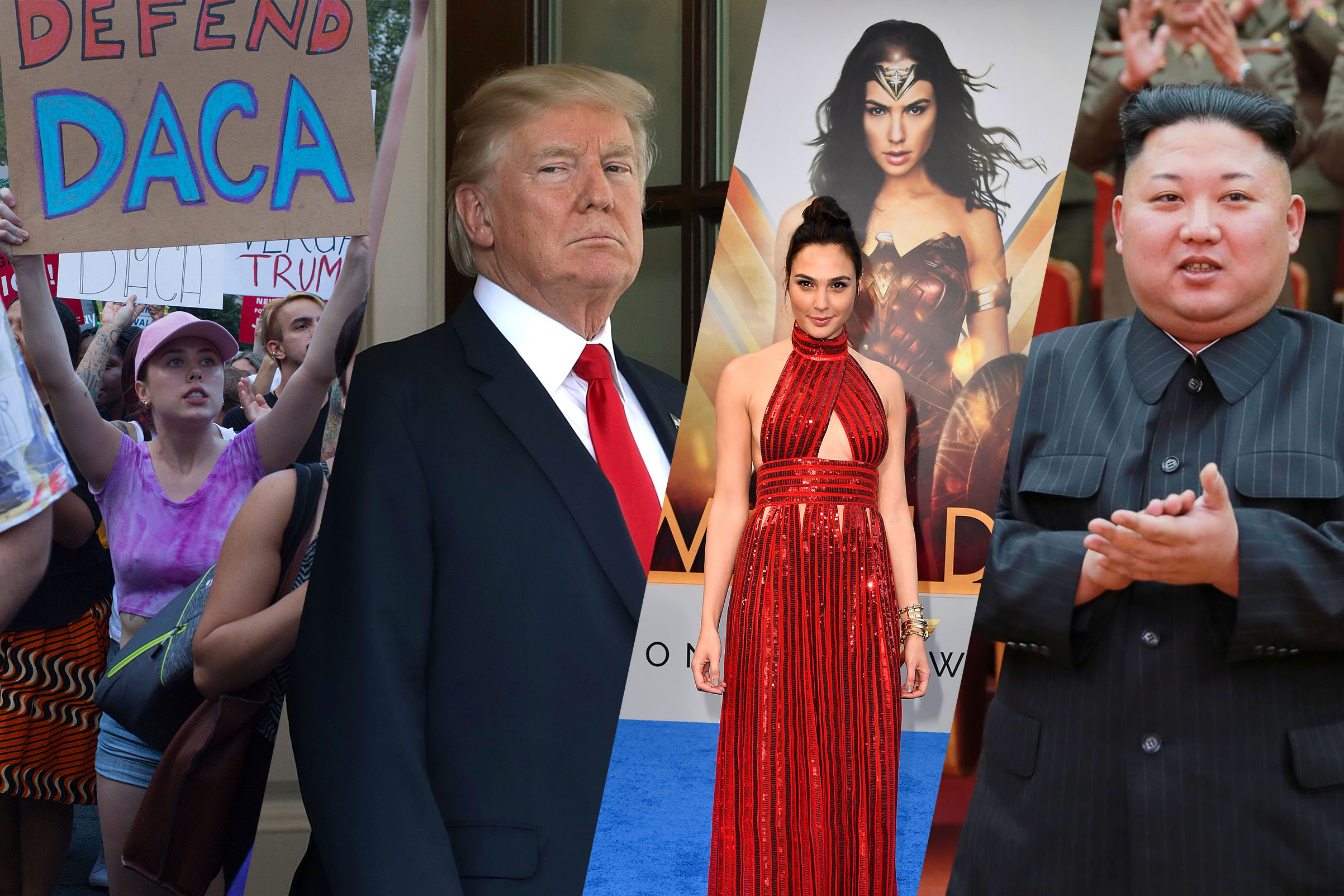 Immigrants and supporters demonstrate during a rally in support of DACA; President Donald Trump at the White House; Gal Gadot arrives at the premiere of  Wonder Woman ; North Korean leader Kim Jong-Un
