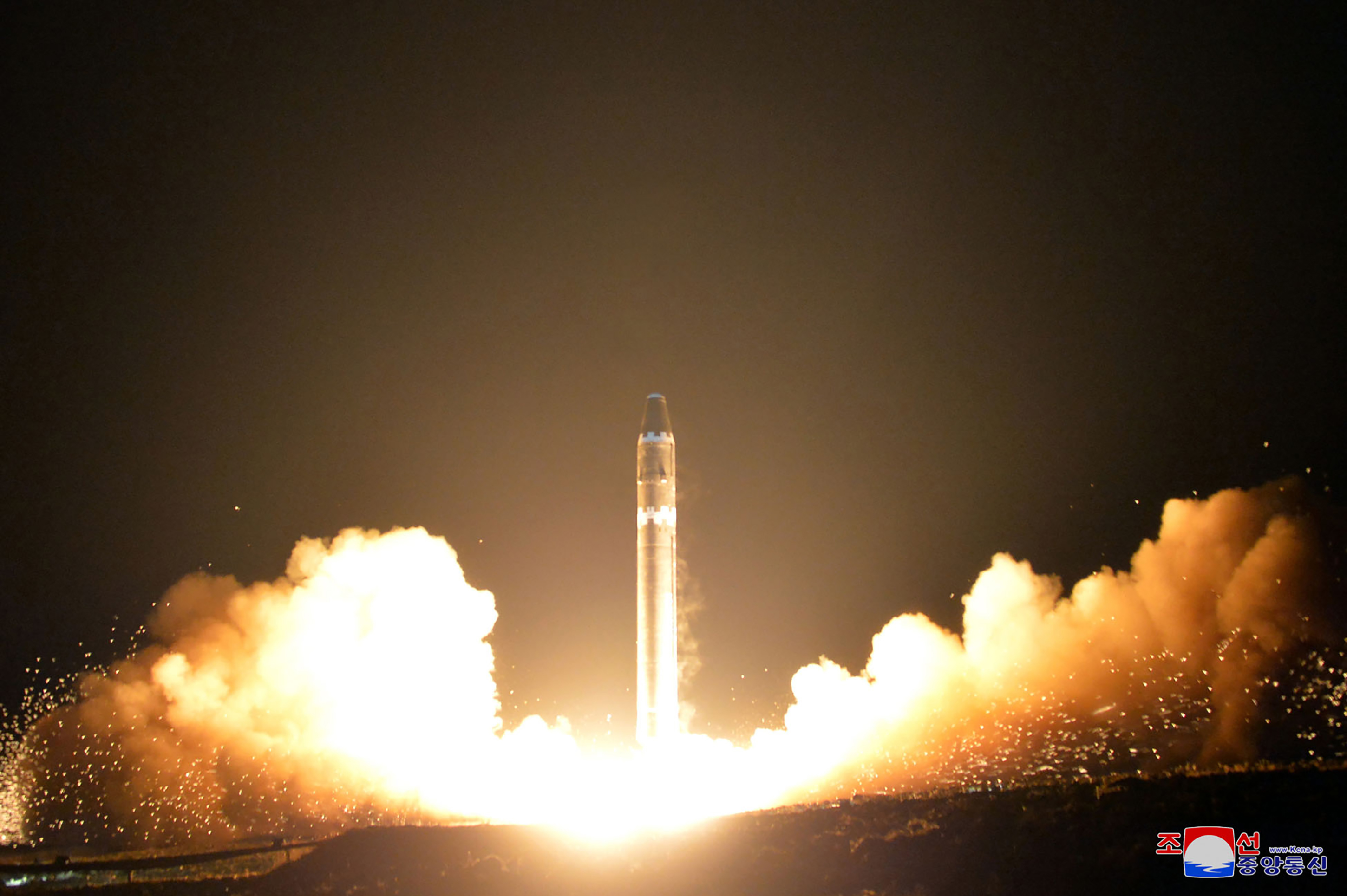 This photo taken on November 29, 2017 and released on November 30, 2017 by North Korea's official Korean Central News Agency (KCNA) shows launching of the Hwasong-15 missile which is capable of reaching all parts of the U.S.