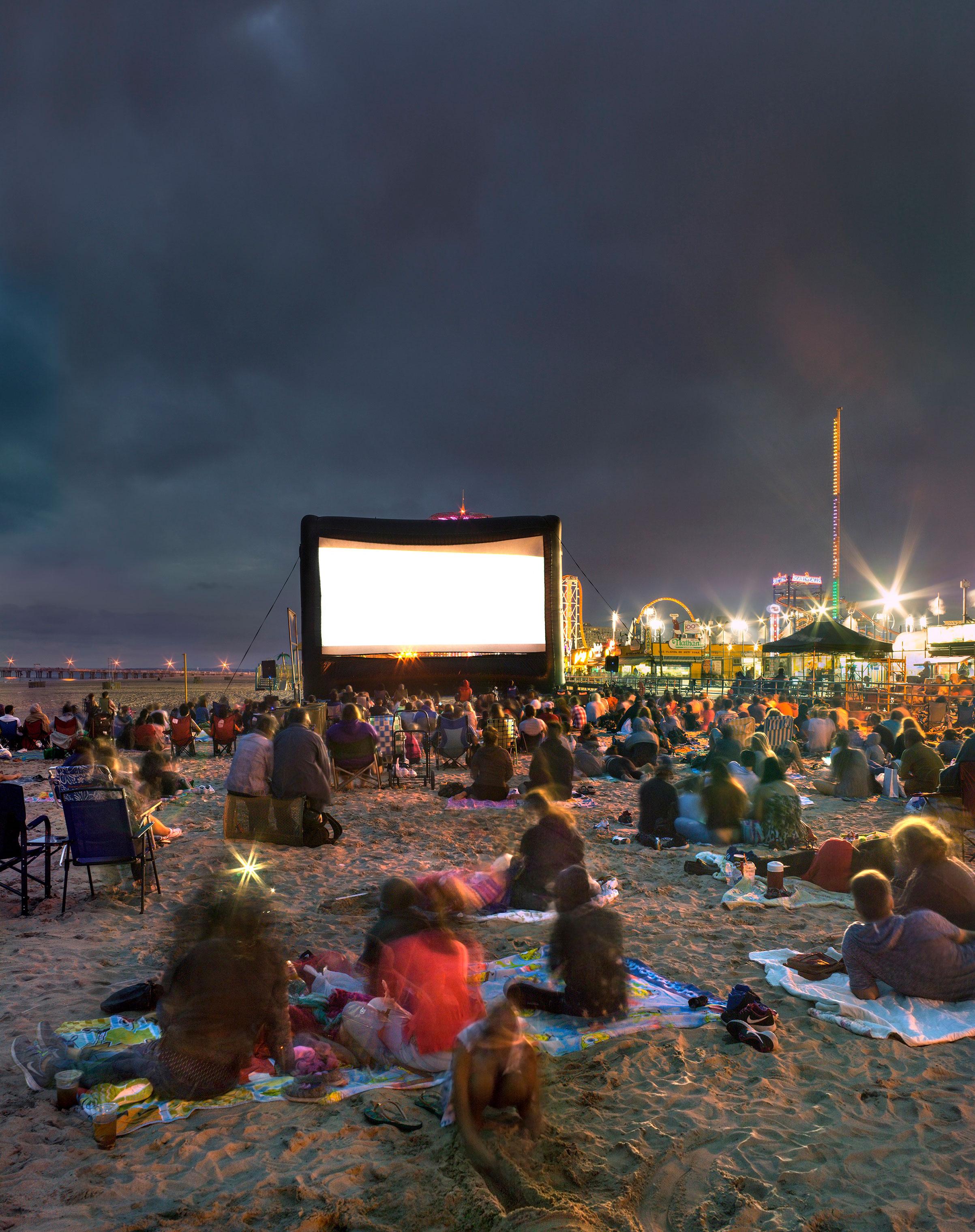 Moviegoers and Coney Island beach and boardwalk, 2016.