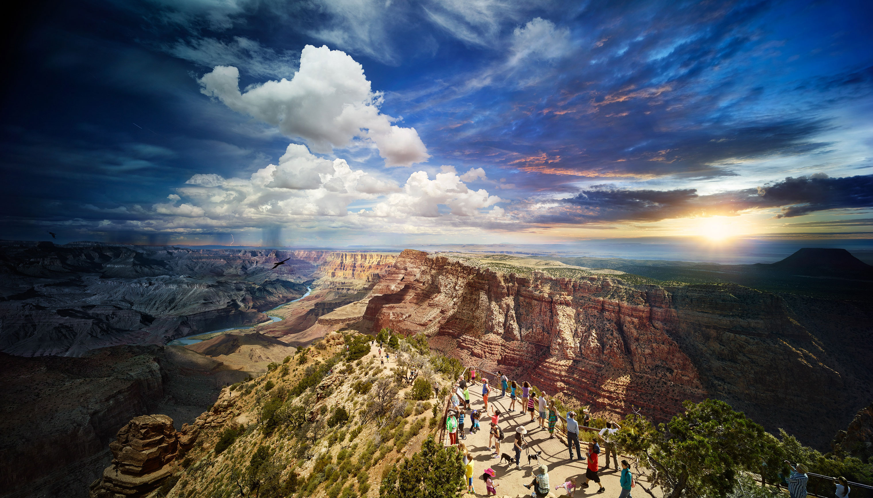 An American icon is depicted through composite photography.
