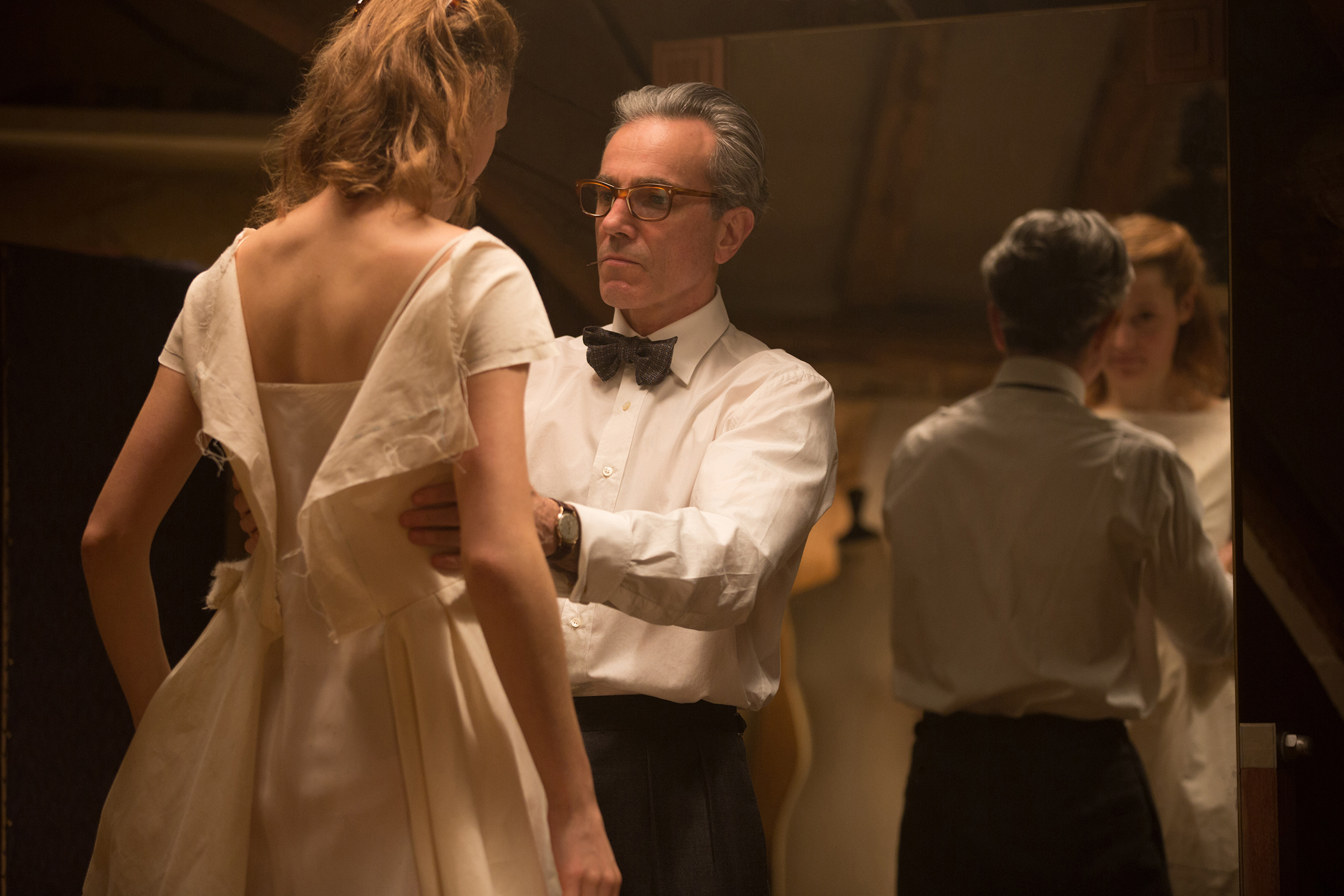 "Vicky Krieps stars as ""Alma"" and Daniel Day-Lewis stars as ""Reynolds Woodcock"" in Paul Thomas Anderson's Phantom Thread."