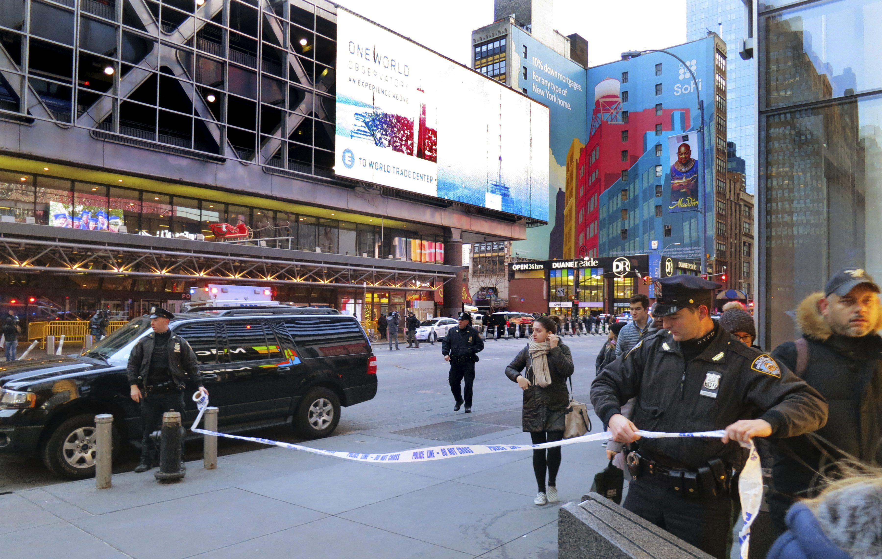 Police secure Eighth Avenue outside the Port Authority Bus Terminal following an explosion near New York's Times Square on Dec. 11, 2017.