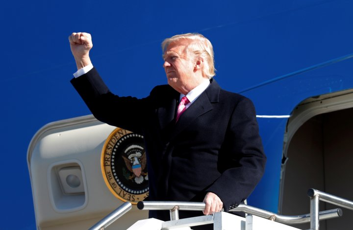 U.S. President Donald Trump steps from Air Force One for a visit to the Civil Rights Museum in Jackson
