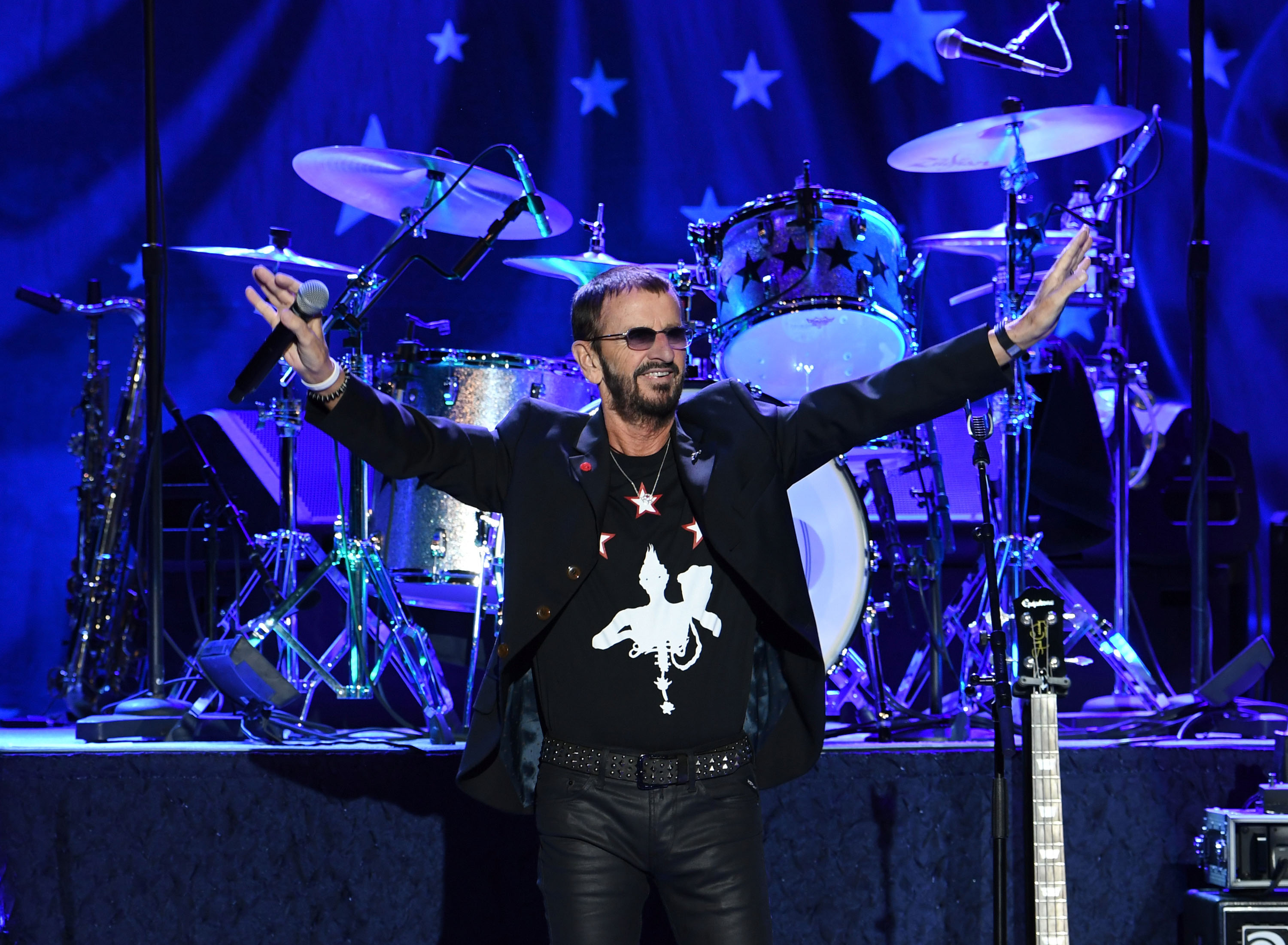 Recording artist Ringo Starr performs with Ringo Starr & His All-Starr Band at Planet Hollywood Resort & Casino in support of his new album  Give More Love  on October 20, 2017 in Las Vegas, Nevada.