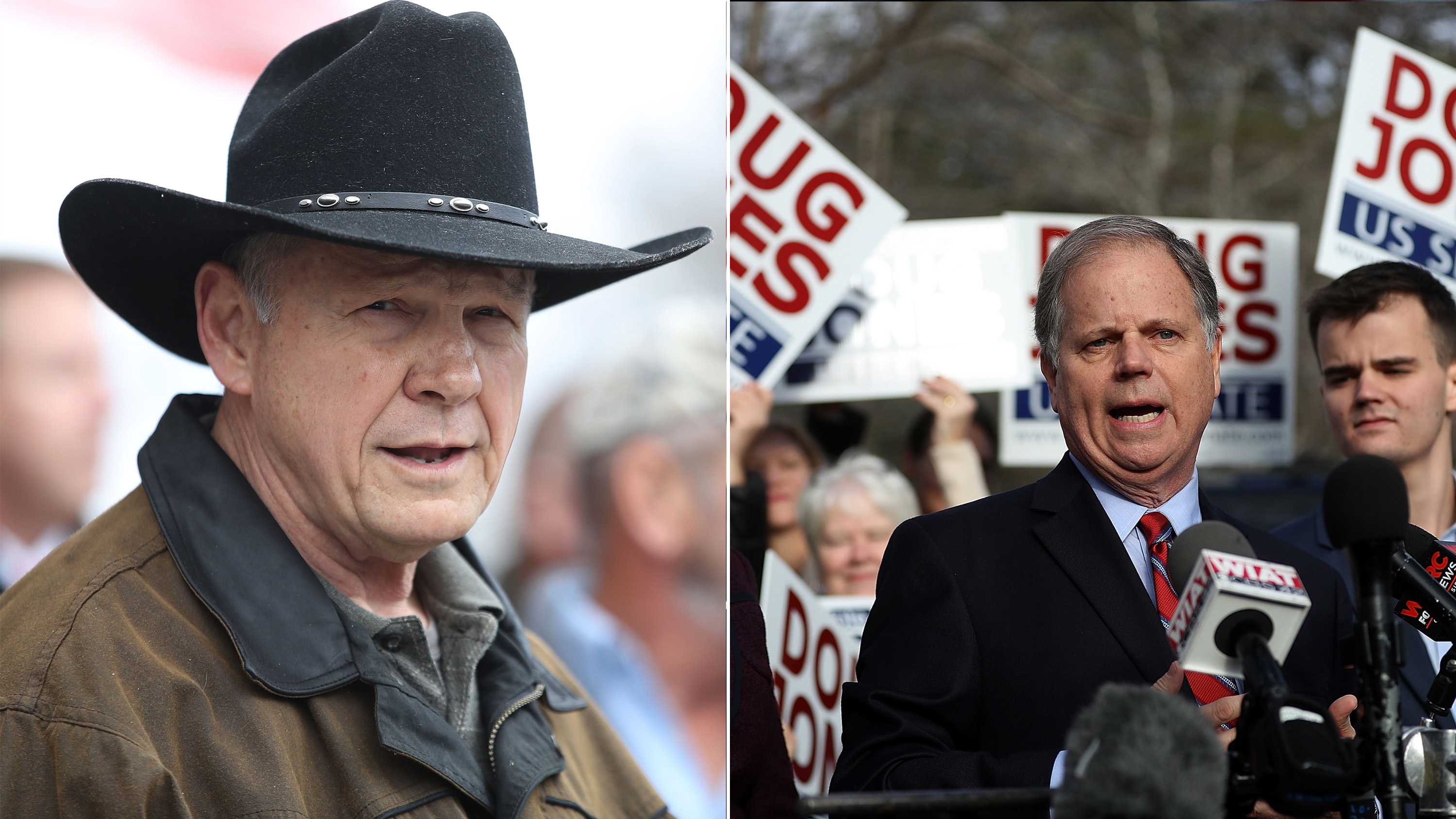 Alabama Special Election candidates Roy Moore (L) and Doug Jones (R) face off for Attorney General Jeff Sessions' vacant Senate seat.